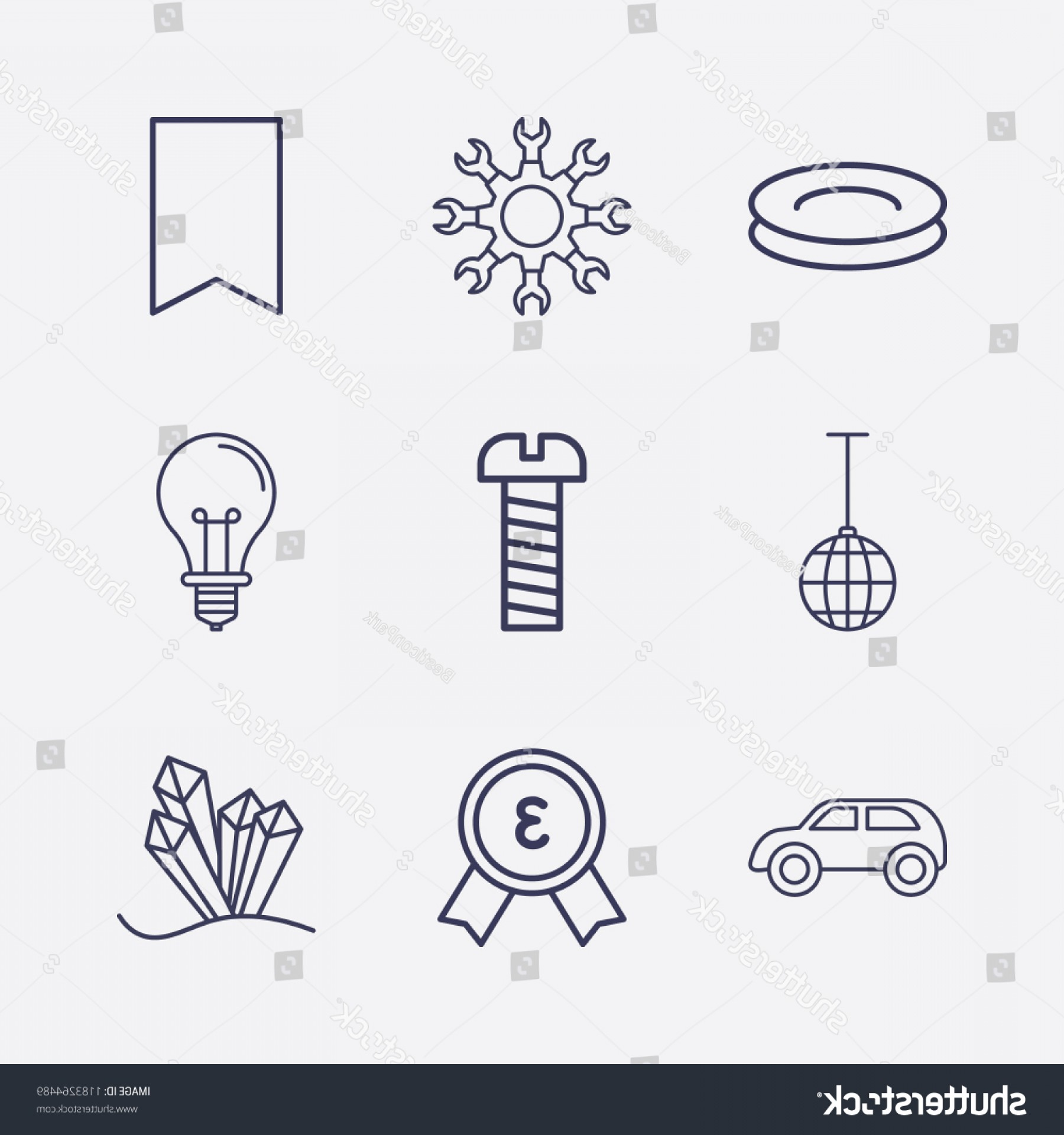 Setting Sun Vector Outline: Outline Shiny Icon Set Bookmark