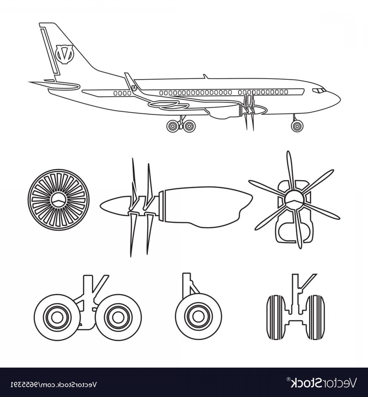 Model Planes Parts Vector: Outline Silhouettes Aircraft Parts Vector