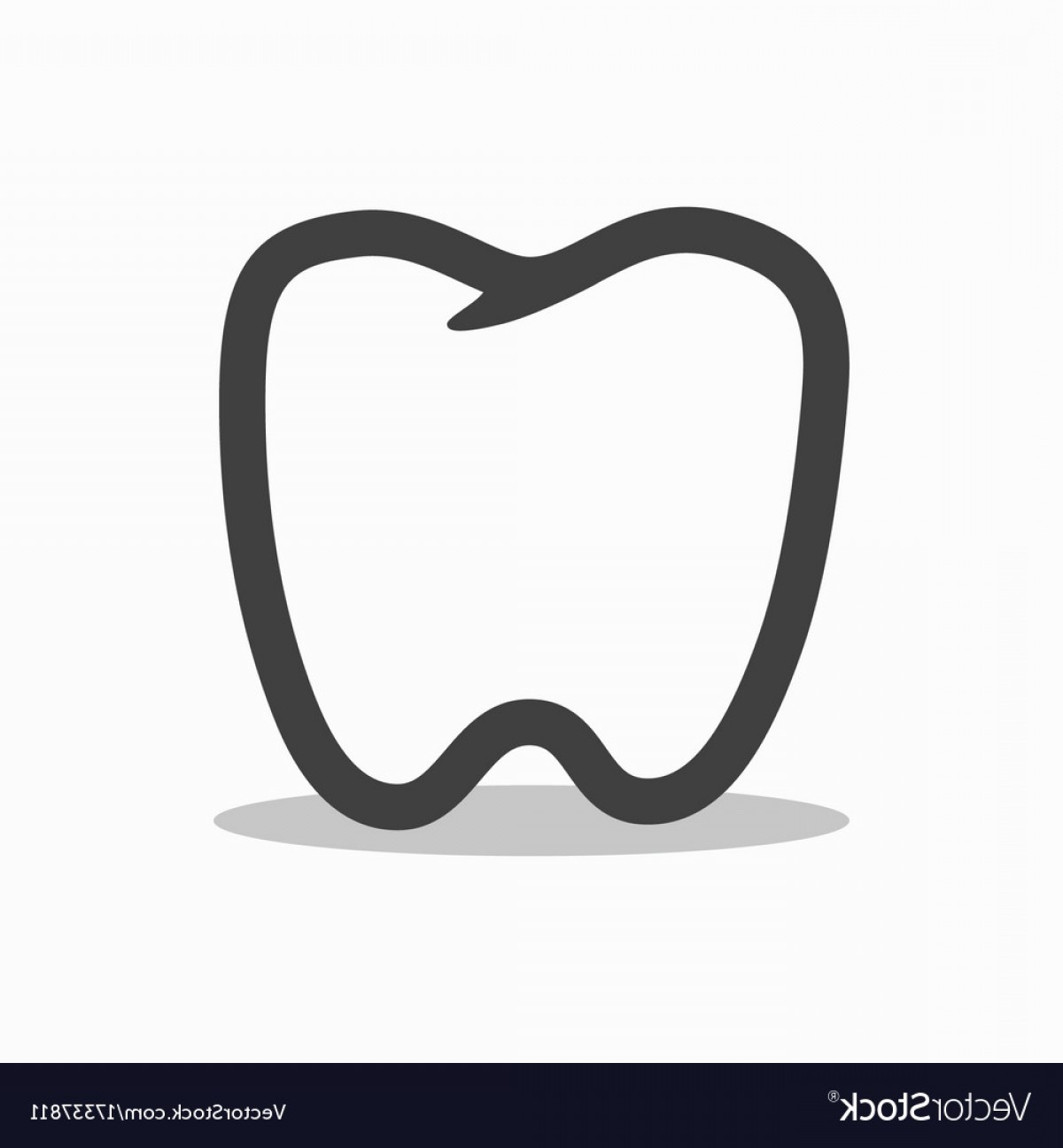 Tooth Outline Vector: Outline Tooth Icon Modern Design Vector