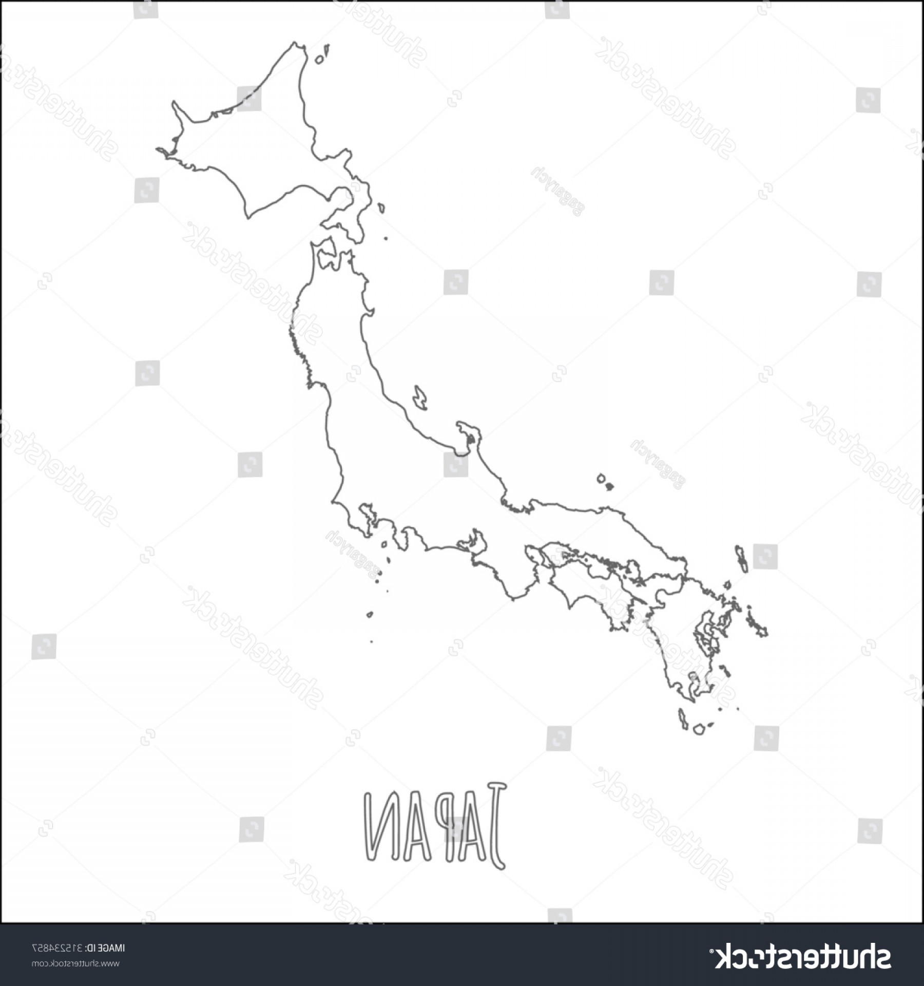 Japan Map Vector: Outline Vector Map Japan Simple Border
