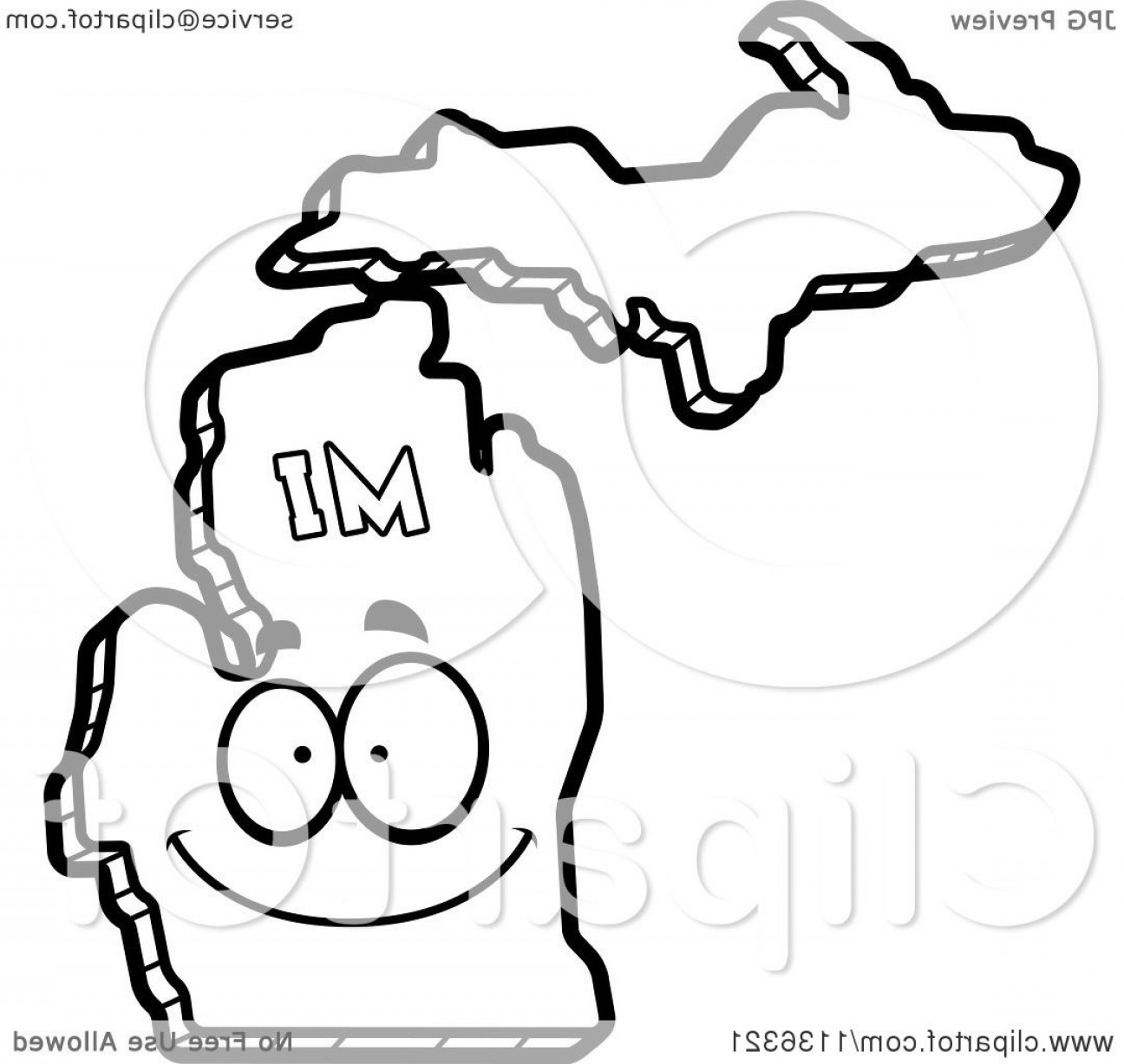 Michigan Vector Artwork: Outlined Happy Michigan State Character
