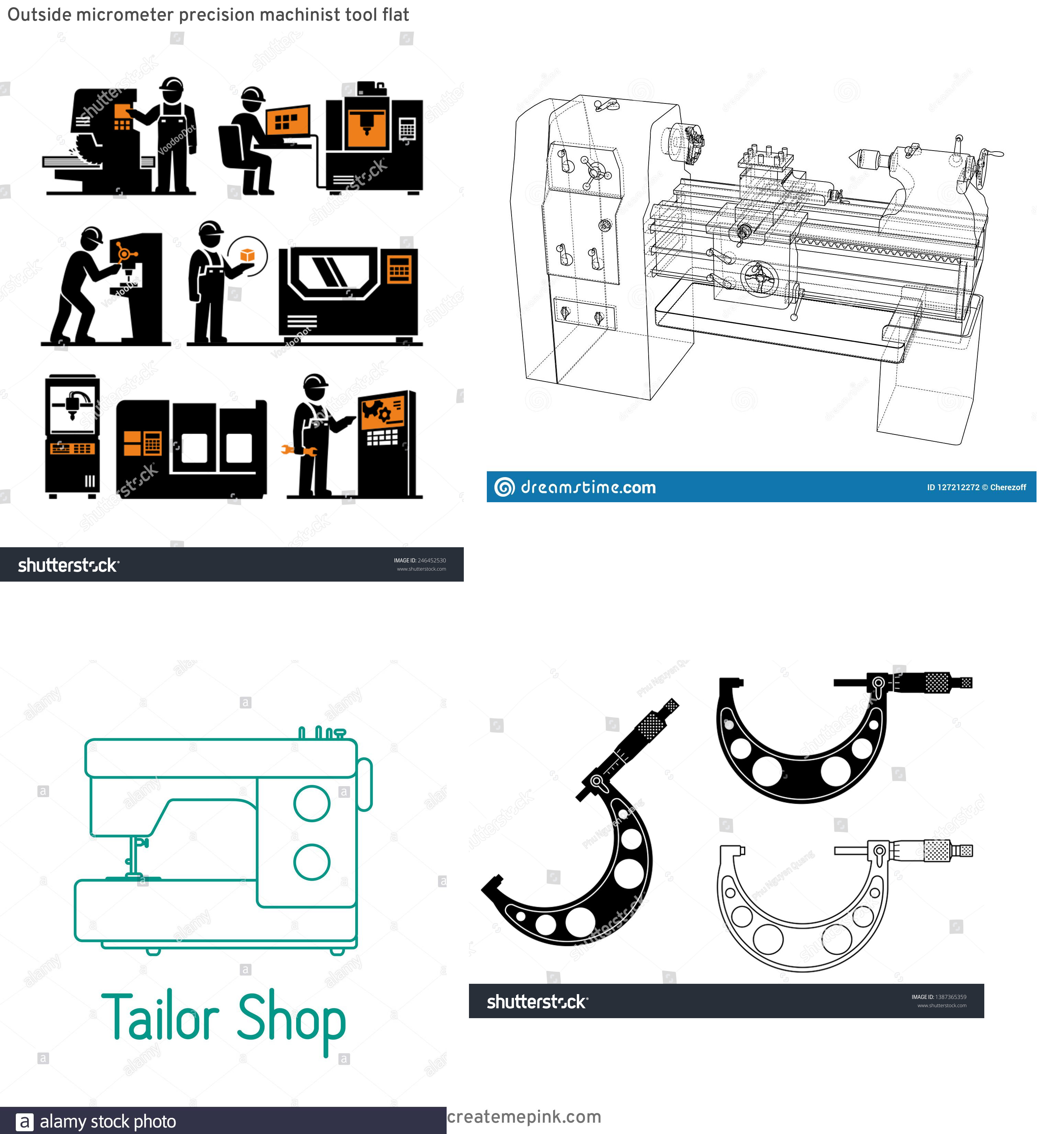 Machinist Tools Vector Logo: Outside Micrometer Precision Machinist Tool Flat