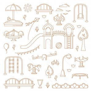 Playground Equipment Vector Art: Outdoor Clip Art Kids Playground Equipment Outdoor Clip Art Kids Playground Equipment Linear Style Vector Elements Image