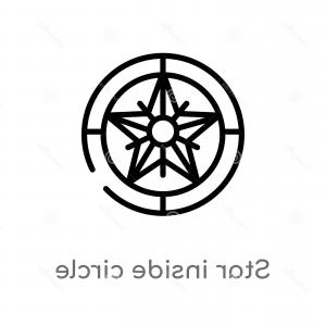 Nautical Vector Image Line: Outline Star Inside Circle Vector Icon Isolated Black Simple Line Element Illustration Nautical Concept Editable Stroke Image