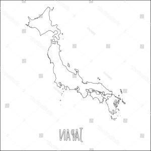 Japan Map Vector: Stock Illustration Japan Map Silhouette Icon Vector