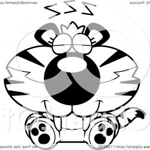 Vector Black And White Cubs: Outlined Cute Sleeping Tiger Cub