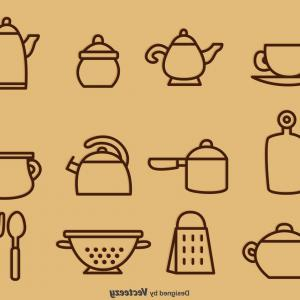 Vector Vintage Kitchen: Outlined Vintage Kitchen Utensil Vector Icons