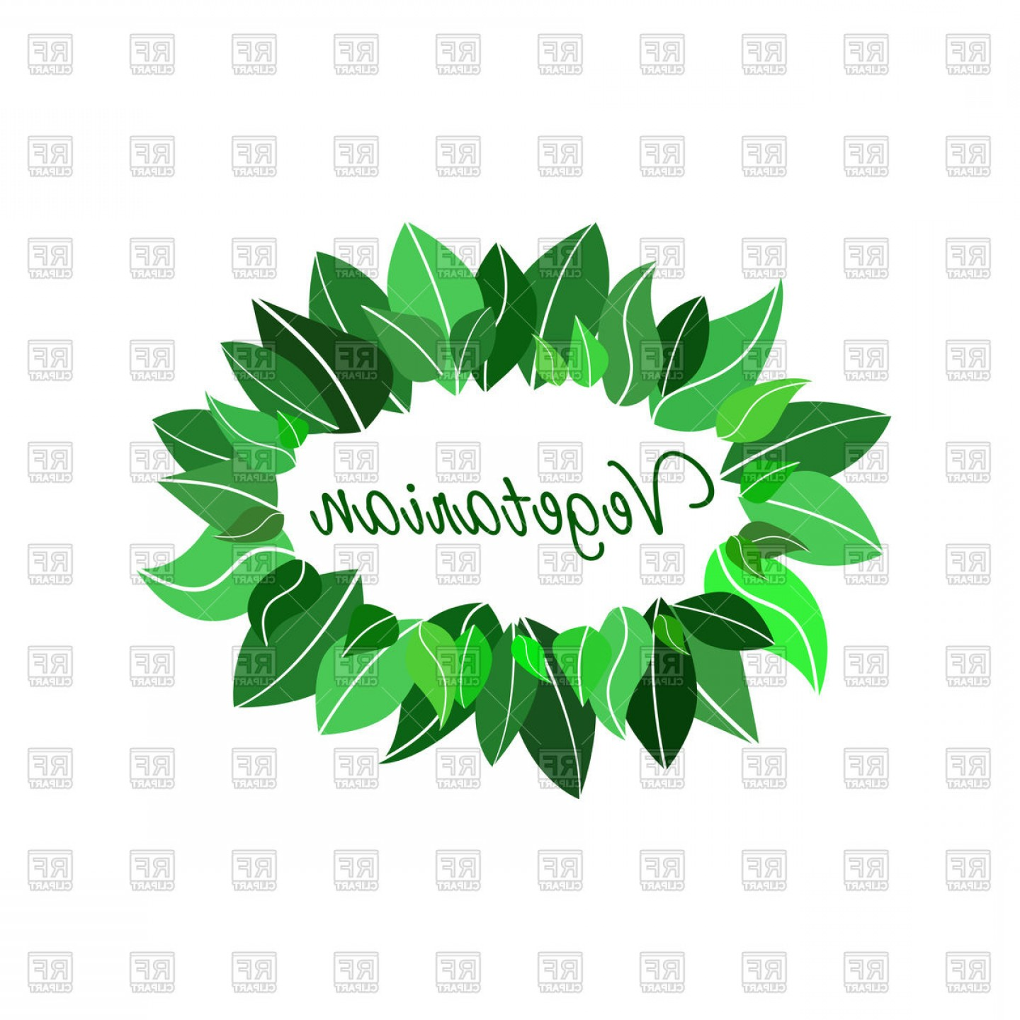 Green Oval Border Vector: Oval Frame Made Of Leaves Concept Of Healthy Vegetarian Product Vector Clipart