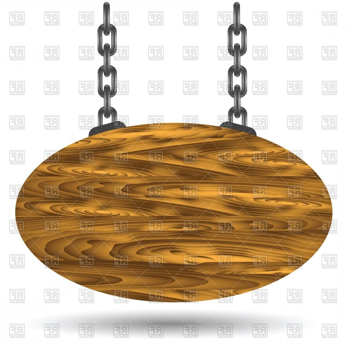 Old Wood Sign Vector: Oval Wooden Sign Board Hanging On A Chains Vector Clipart