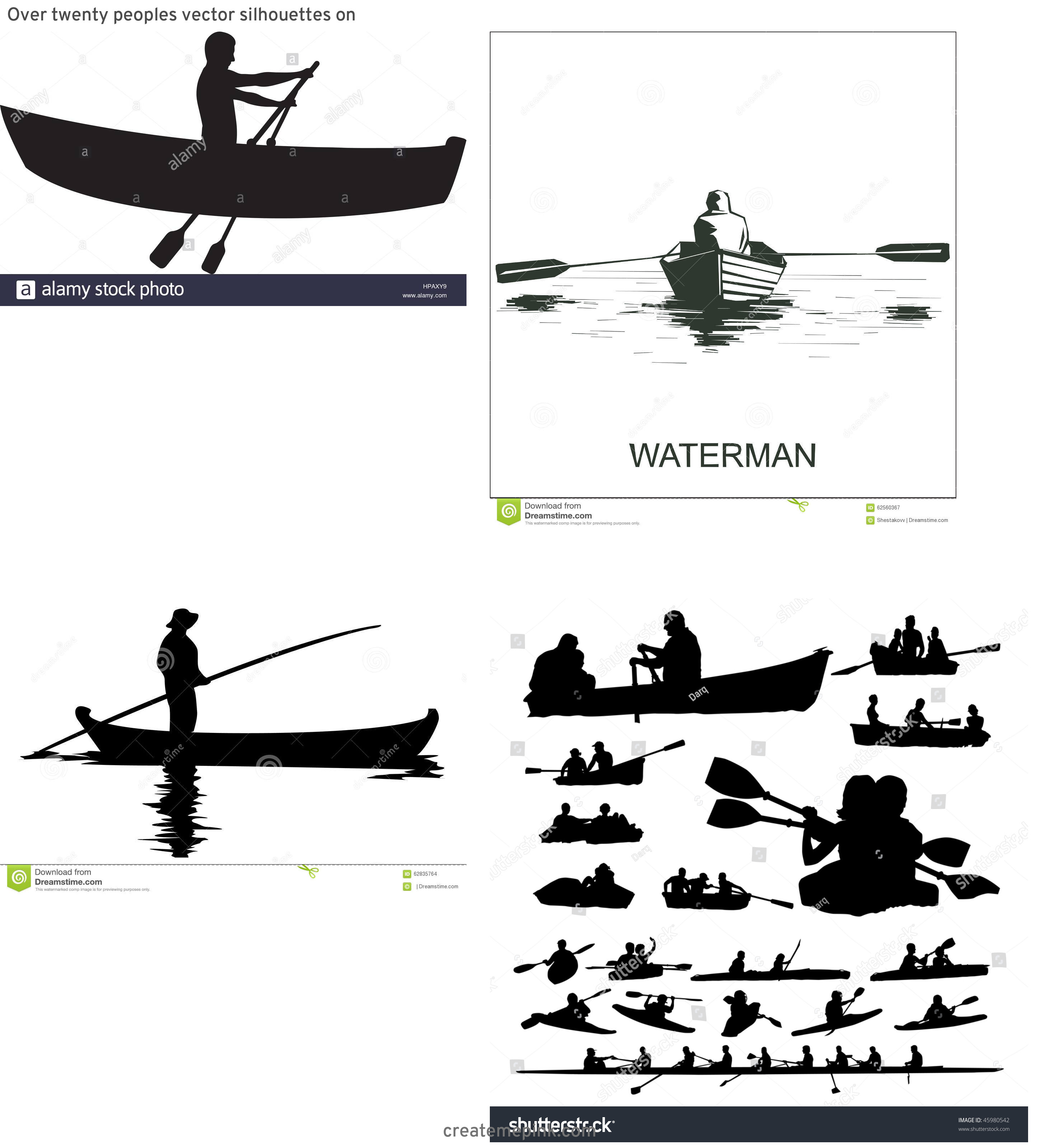 Row Boat Vector Sillohettes: Over Twenty Peoples Vector Silhouettes On