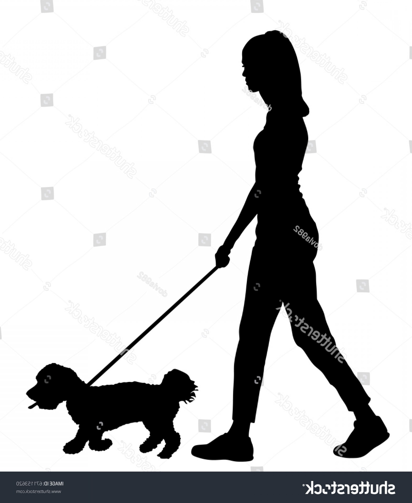 Vector Silhouette Dog Walk: Owner Handsome Girl Walking Dog Vector