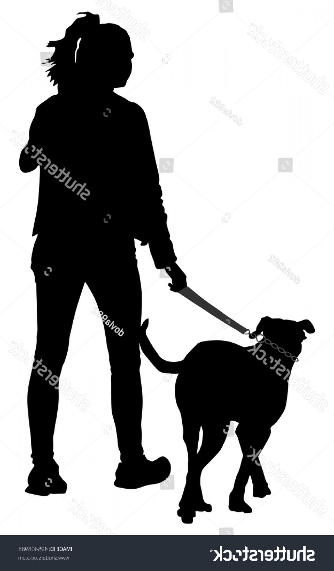 Vector Silhouette Dog Walk: Owner Lady Dog Walking City Woman
