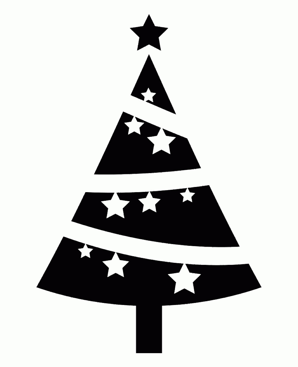 Black And White Christmas Ornament Vector Art: Oworhchristmas Tree Ornamented With Stars Comments Vector White
