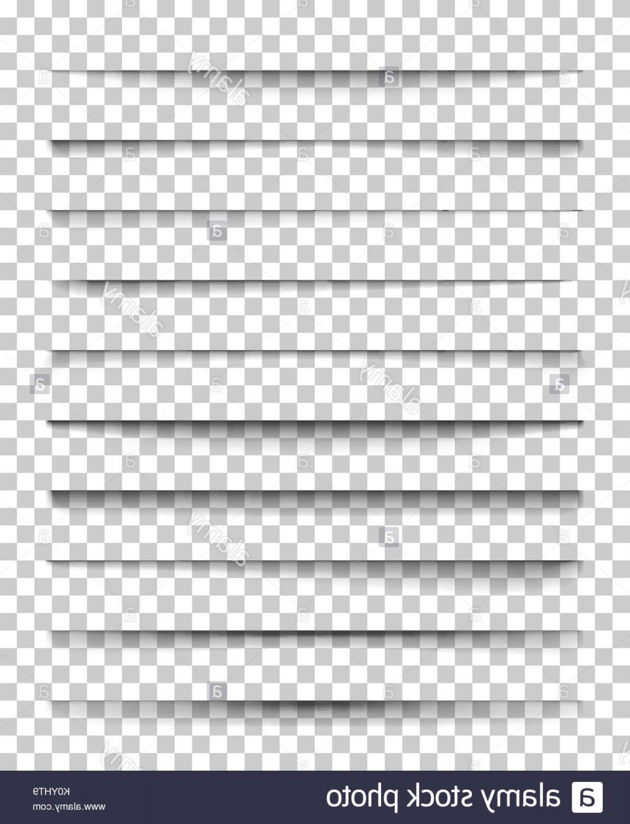 Vector Line Dividers Transparent Backgrounds: Page Divider With Transparent Shadows Set Of Pages Separation Vector Image