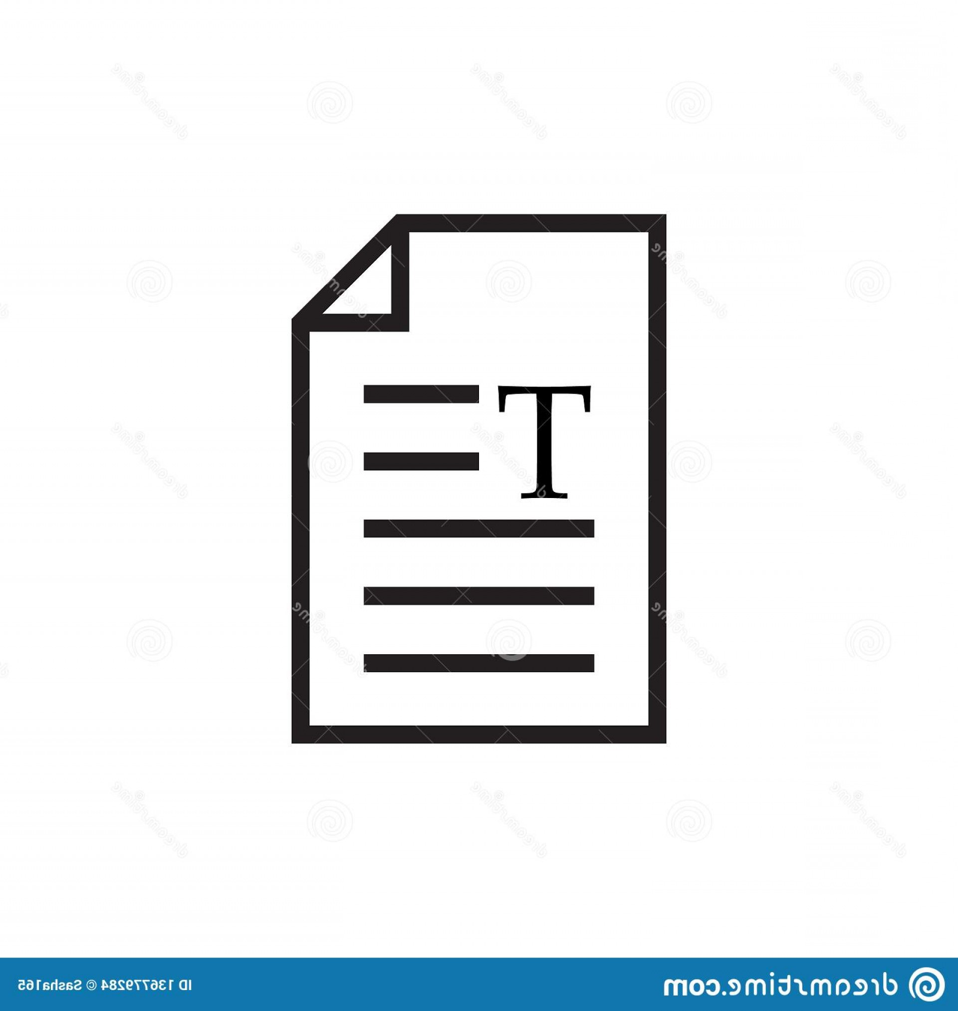 File Formats Vector Artwork: Page Letter T Text Document Icon Web Symbol Office File Format Vector Illustration Isolated White Background Image