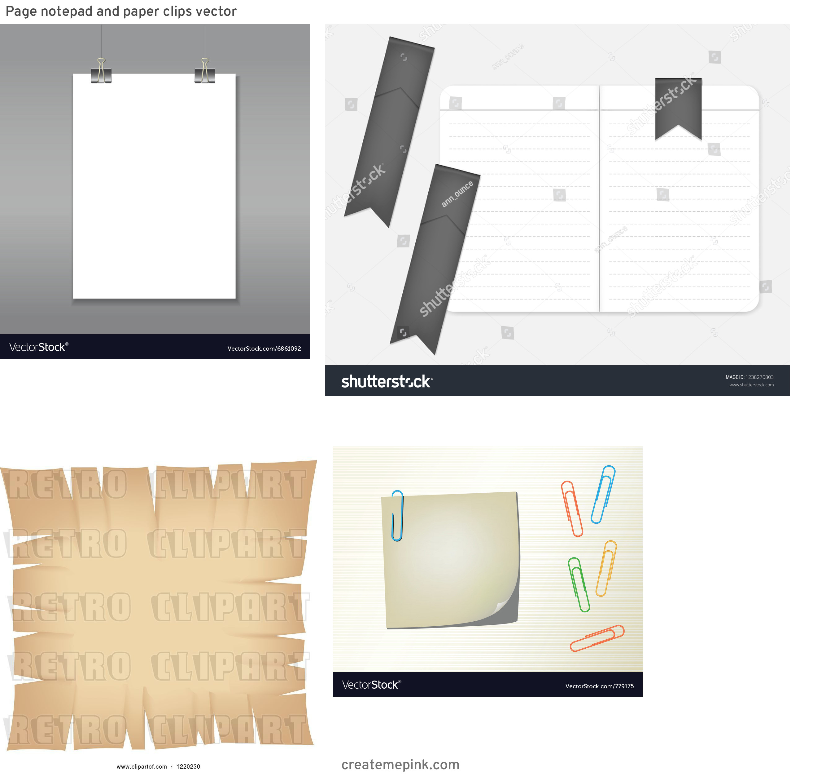Vector Paper Clip On Page: Page Notepad And Paper Clips Vector