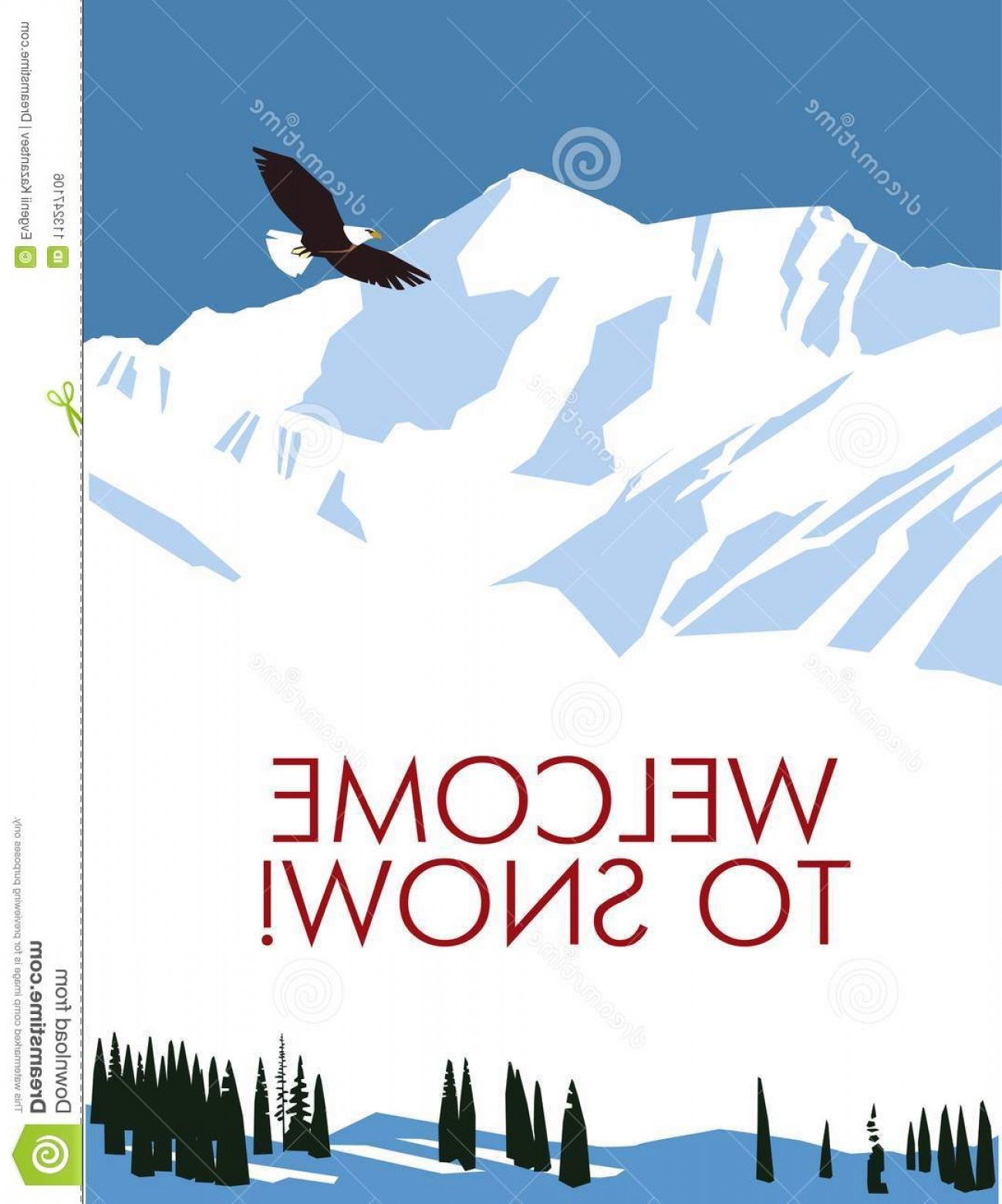 Snowy Mountain Vector Graphics: Painted Snowy Mountains Poster Vector Drawing Retro Poster Snowy Mountains Flying Distance Eagle Snow Resort Image