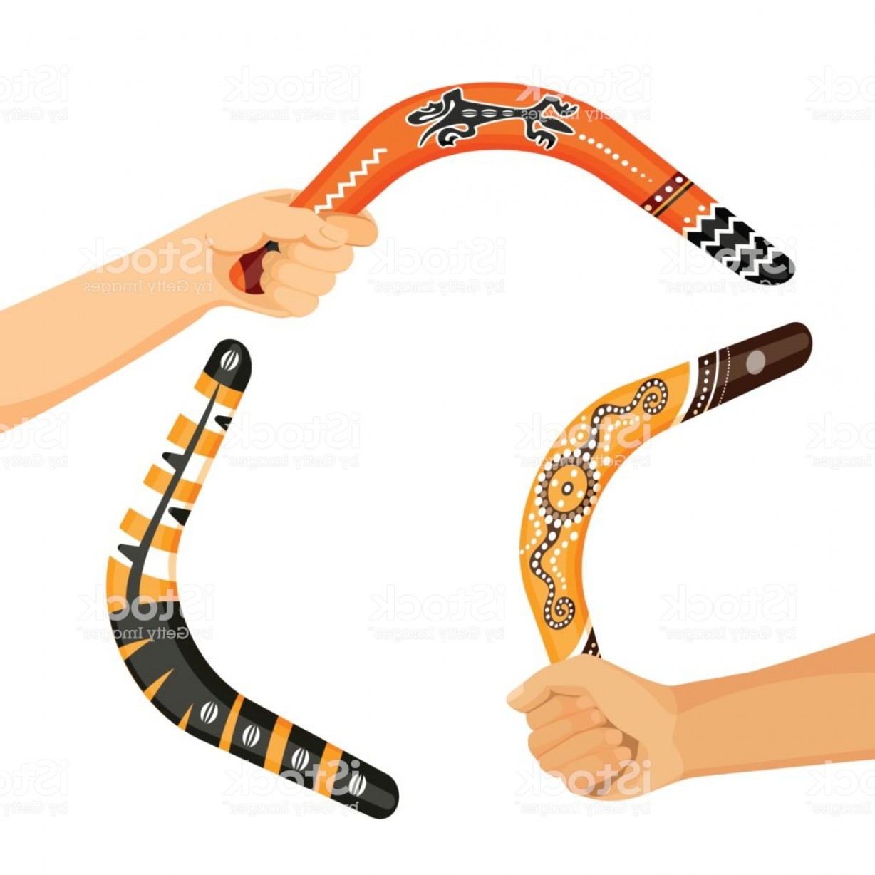 Boomerang Vector Curve: Painted Traditional Australian Boomerang Tools In Hands Vector Gm