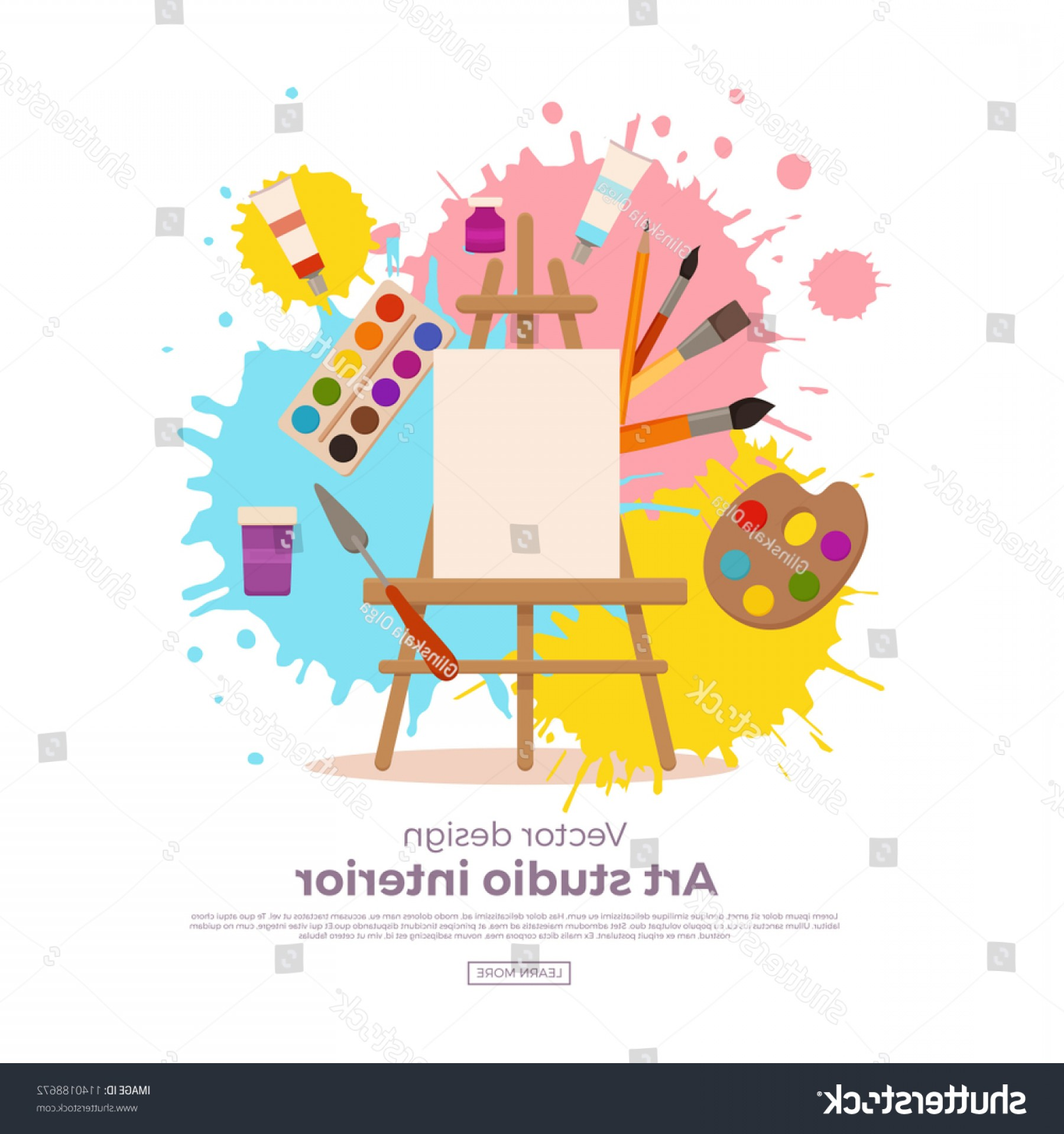Concepto Vector: Painting Tools Elements Cartoon Colorful Vector