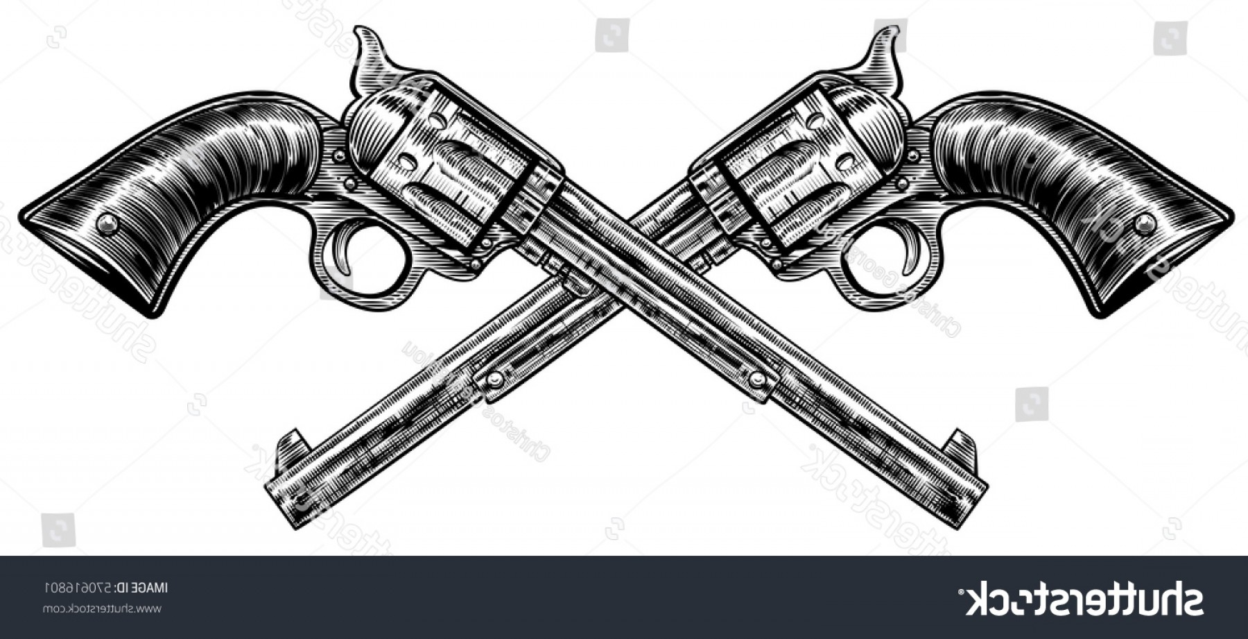 Vintage Crossed Pistols Vector: Pair Crossed Pistol Guns Vintage Etched