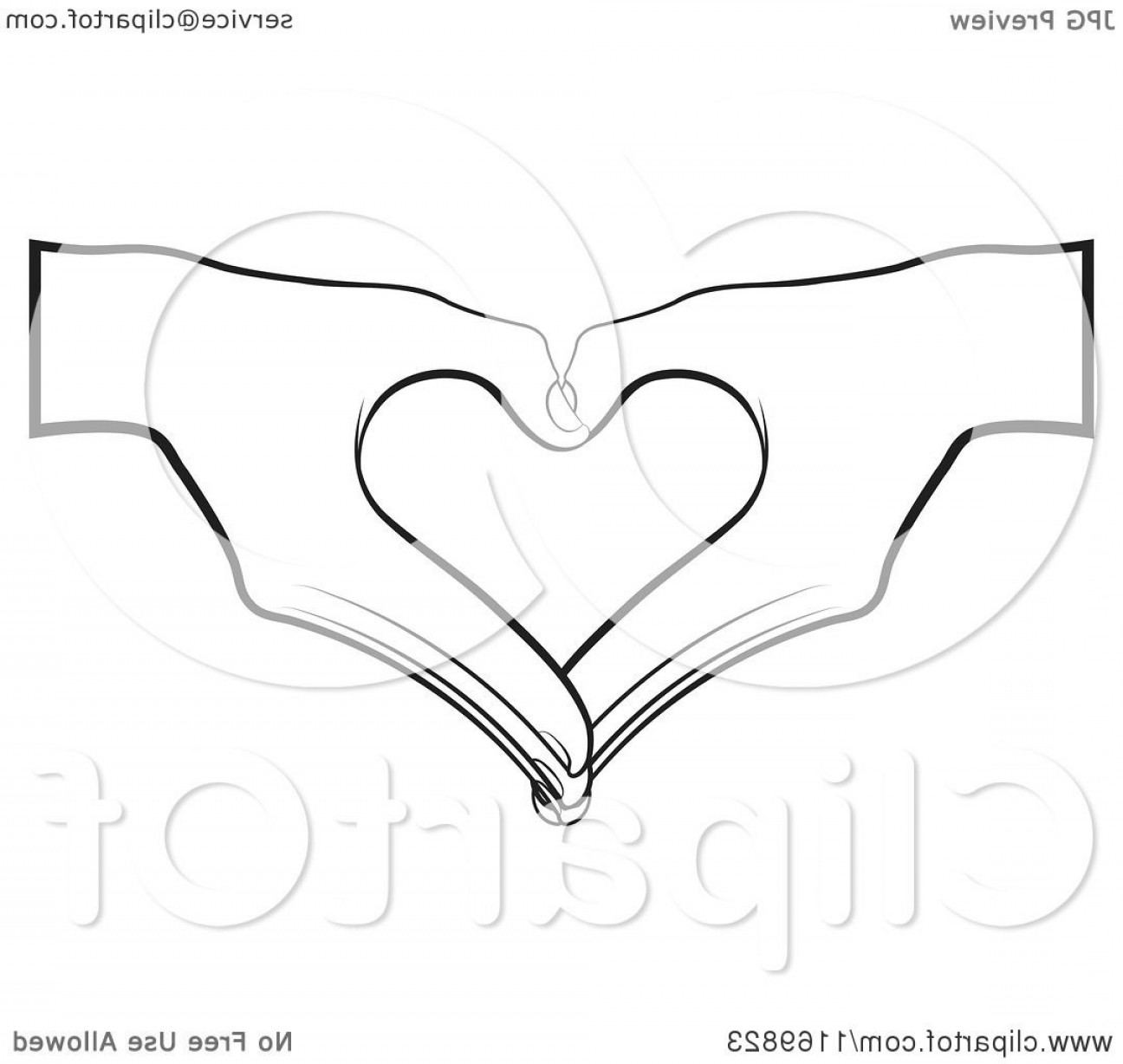 Heart In Hand Vector Clip Art: Pair Of Black And White Hands Forming A Heart