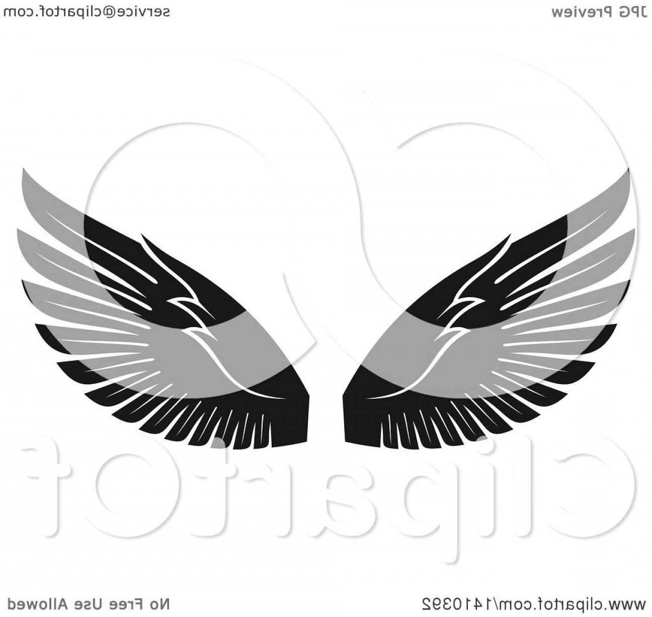 Vector Hi Res Black And White Wing: Pair Of Black And White Wings