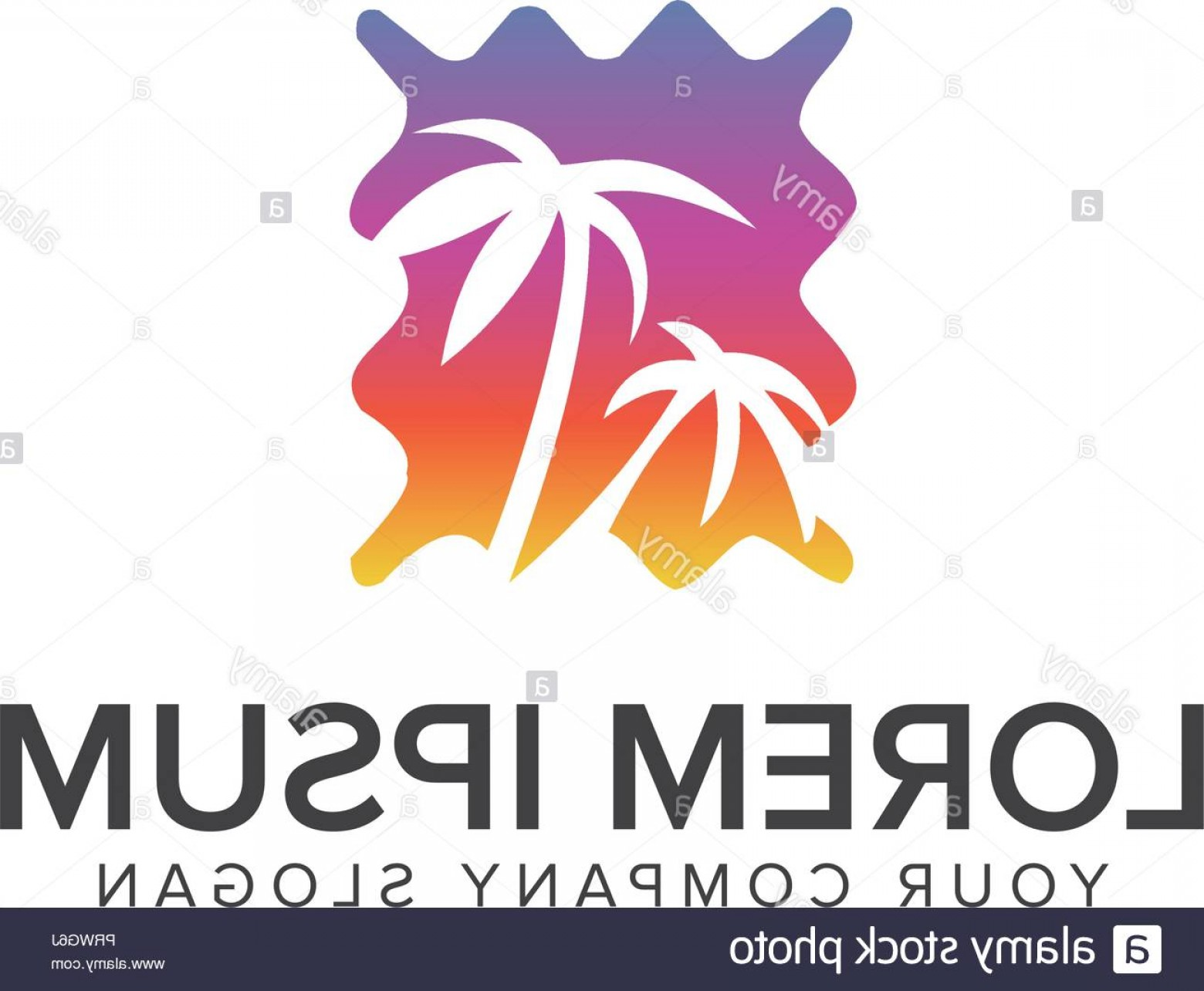 Vector Sun Vacation: Palm Tree And Sun Logo Design Vacation Travel Concept Template Image