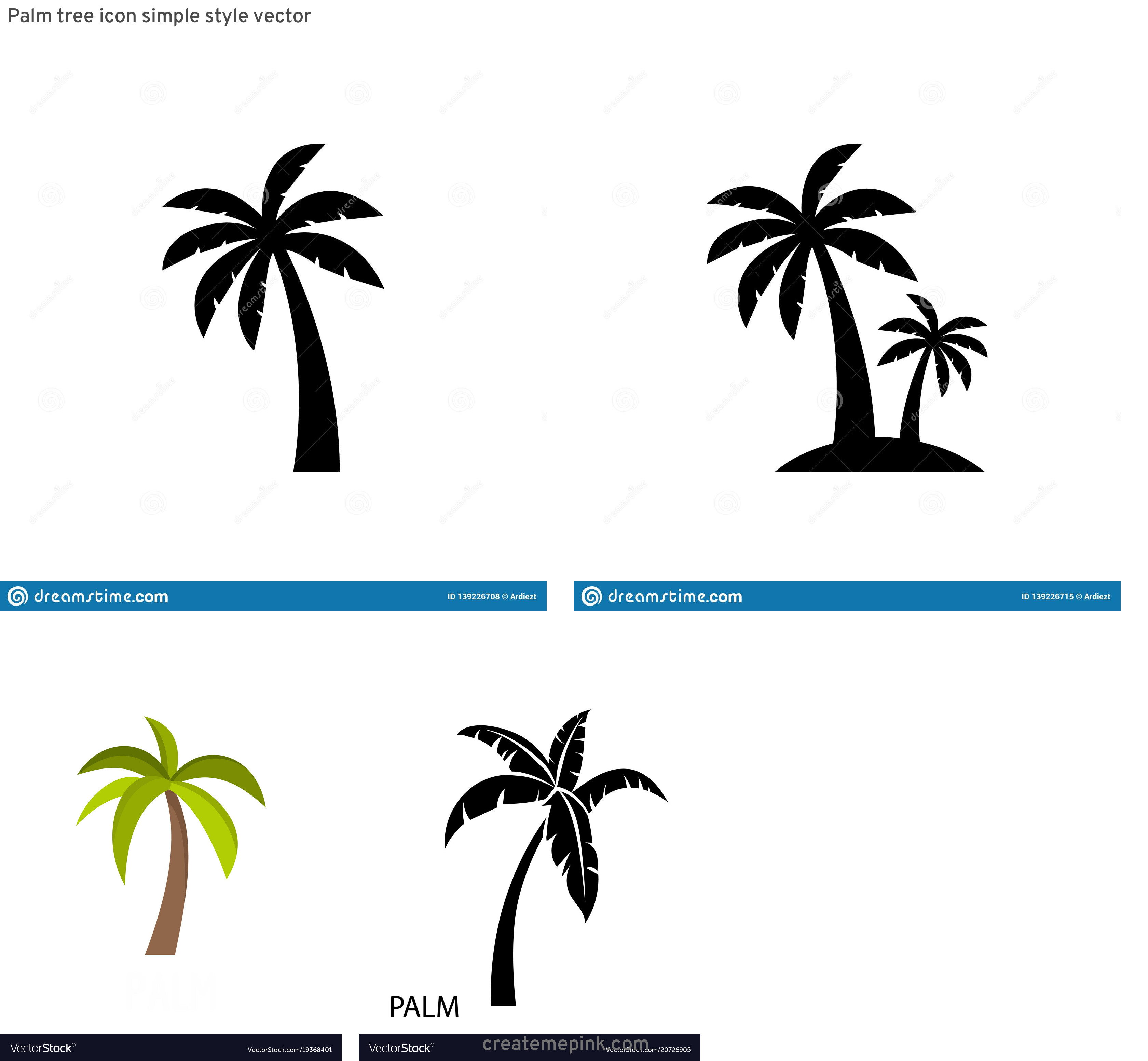 Palm Tree Icon Vector: Palm Tree Icon Simple Style Vector