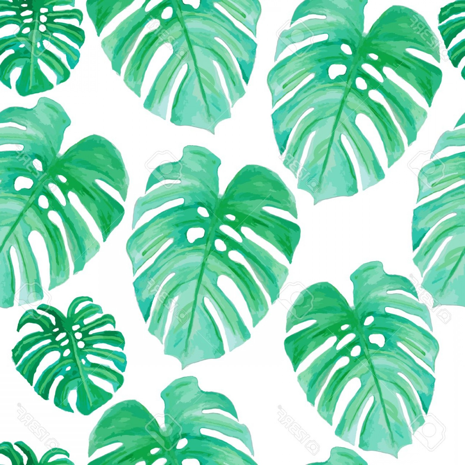 Watercolor Palm Tree Vector: Palm Tree Leaf Drawing Watercolor Drawing Palm Trees Or Green Leaves Seamless Pattern