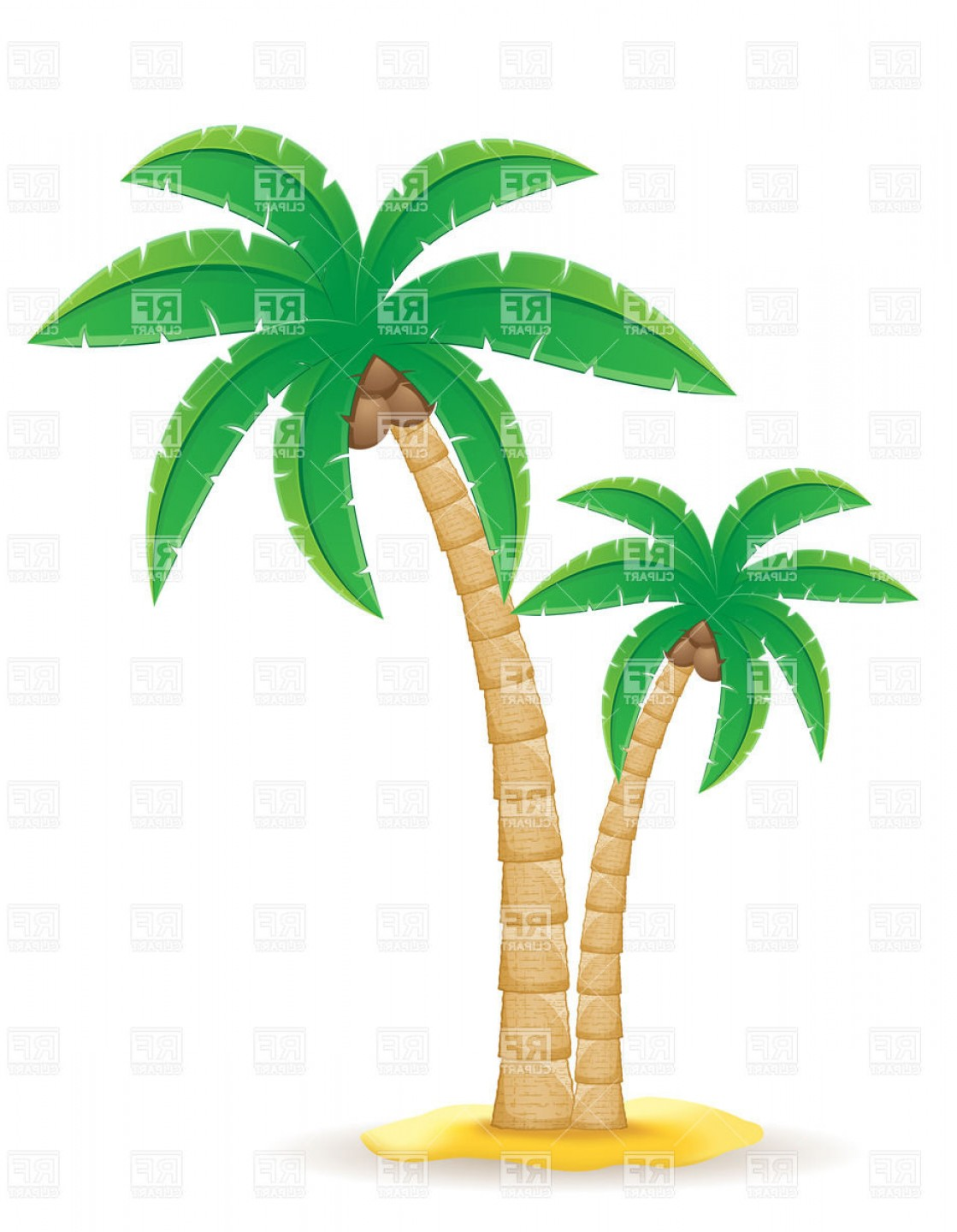 Palm Tree Clip Art Vector: Palm Tree On The Sand Vector Clipart