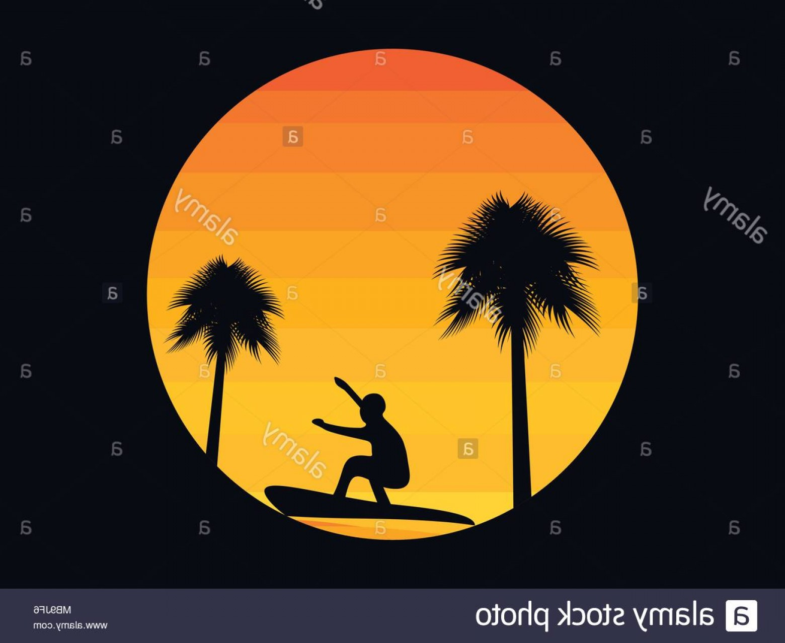 Surfer Beach Sunset Vector: Palm Trees And A Surfer On A Sunset Background In The Style Of The S Tropical Sunrise Or Sunset Vector Illustration Image