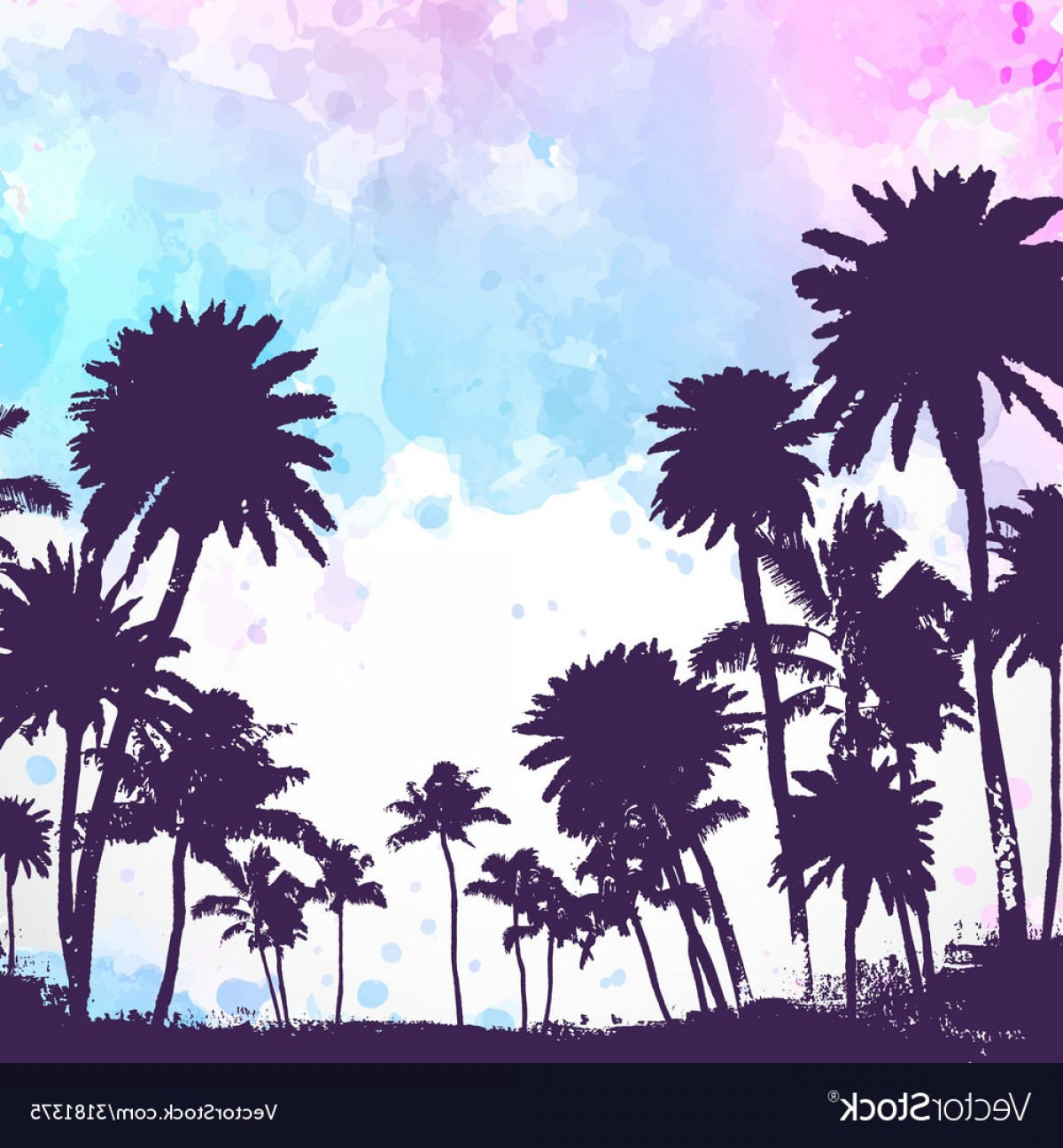 Watercolor Palm Tree Vector: Palm Trees On Watercolor Background Vector