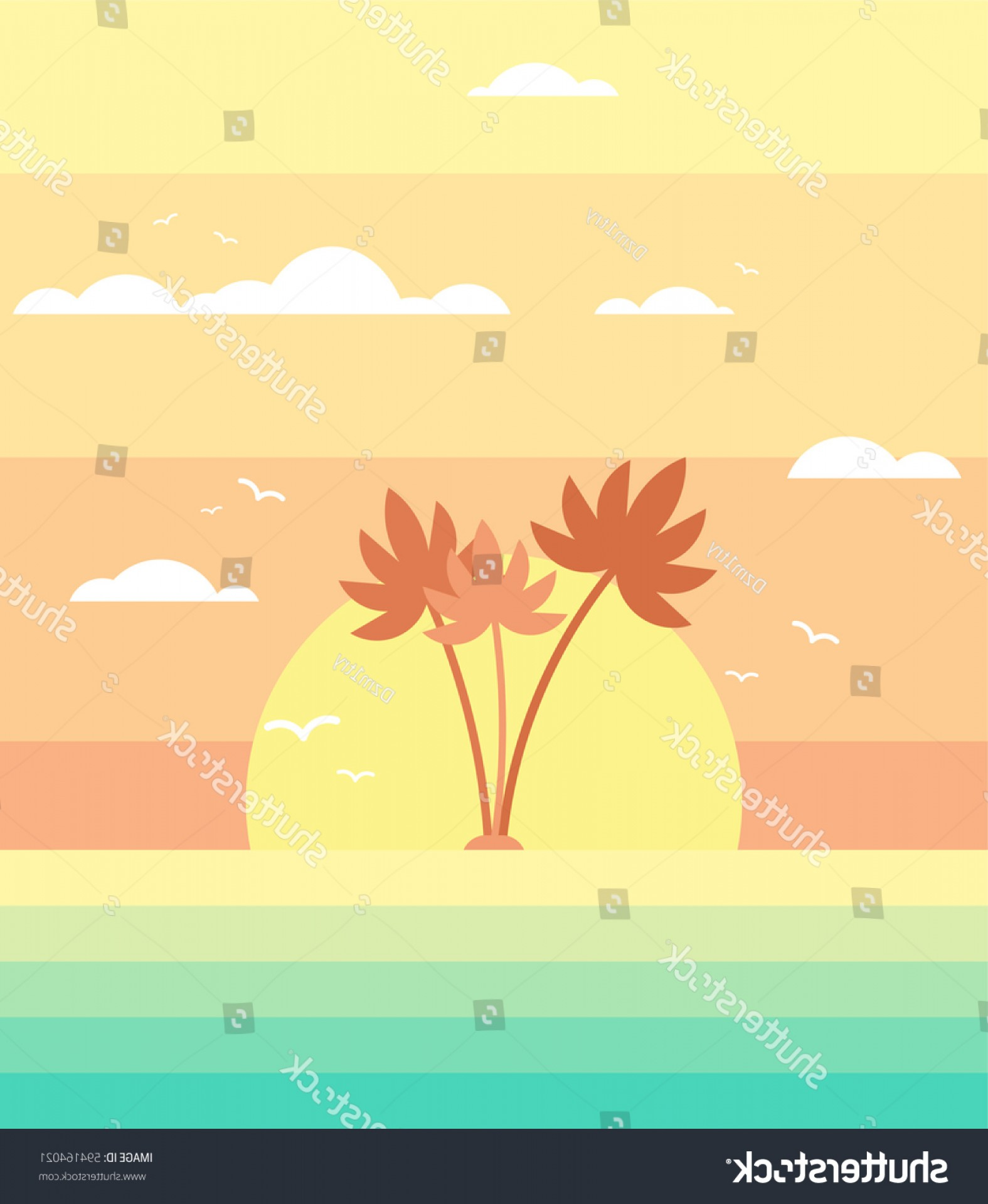 Flat Vector Background Sunset: Palm Trees Sunset Background Flat Vector