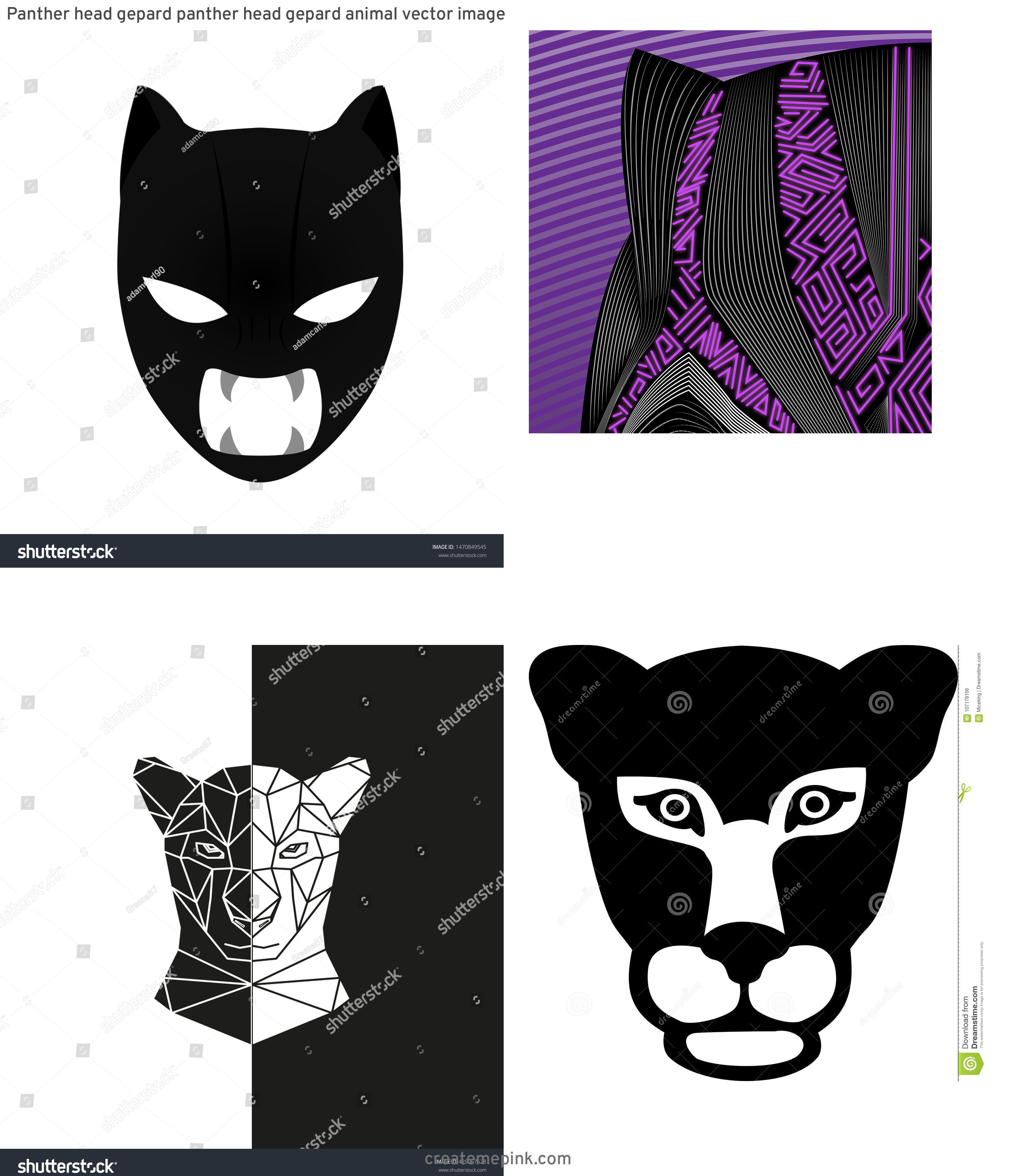 Black Panther Mask Vector: Panther Head Gepard Panther Head Gepard Animal Vector Image