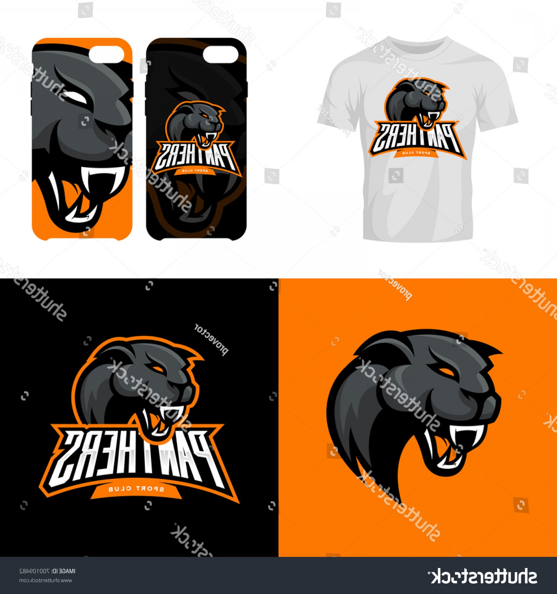 Panther Mascot Vector Sports: Panther Head Sport Club Isolated Vector