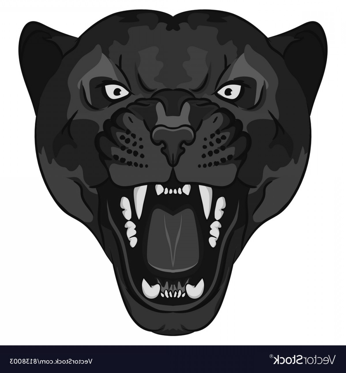 Panther Vector: Panther Portrait Angry Wild Big Cat Vector