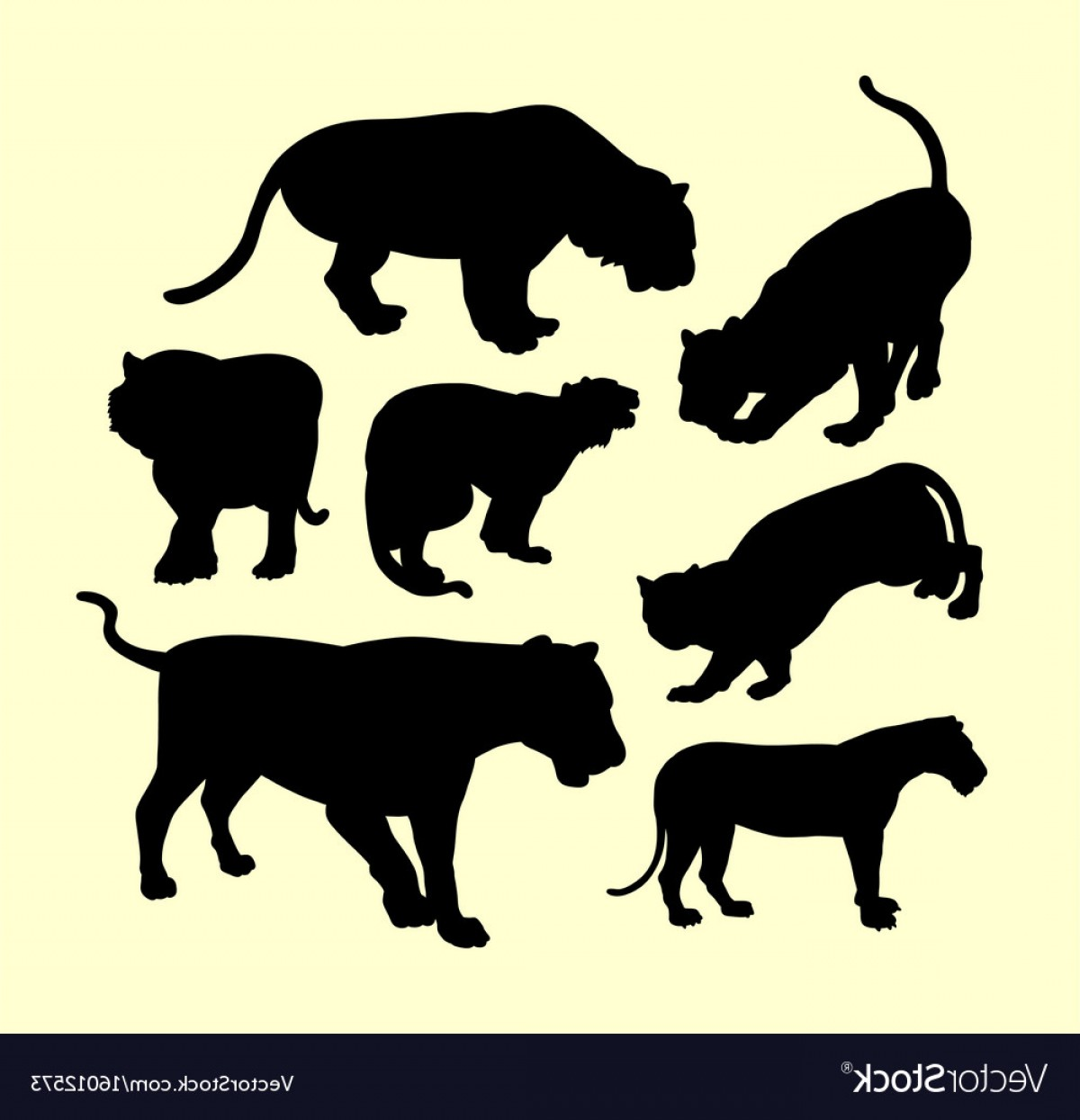 Panther Silhouette Vector: Panther Puma And Tiger Animal Silhouette Vector