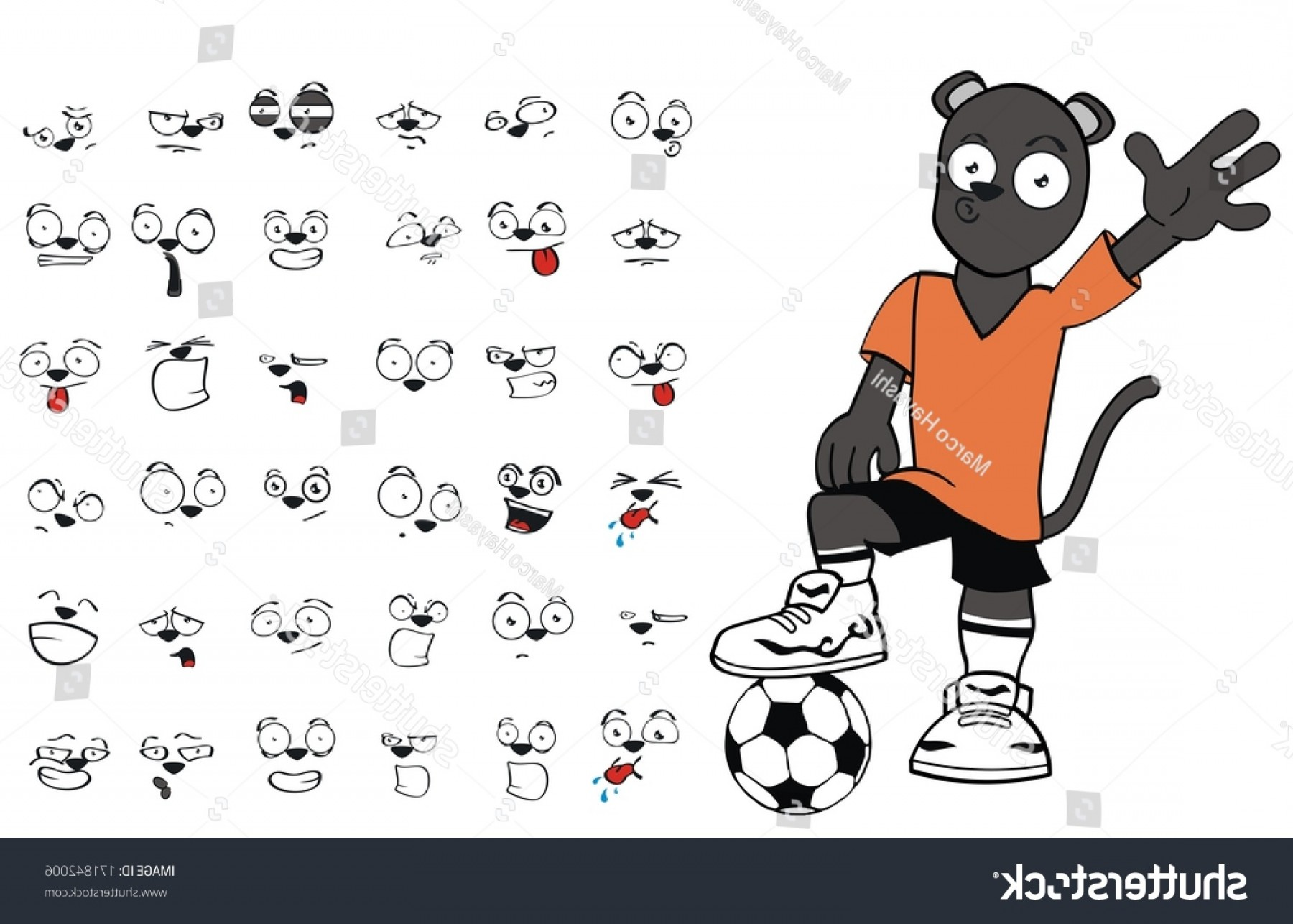 Vector Panther Football: Panther Soccer Cartoon Set Vector Very