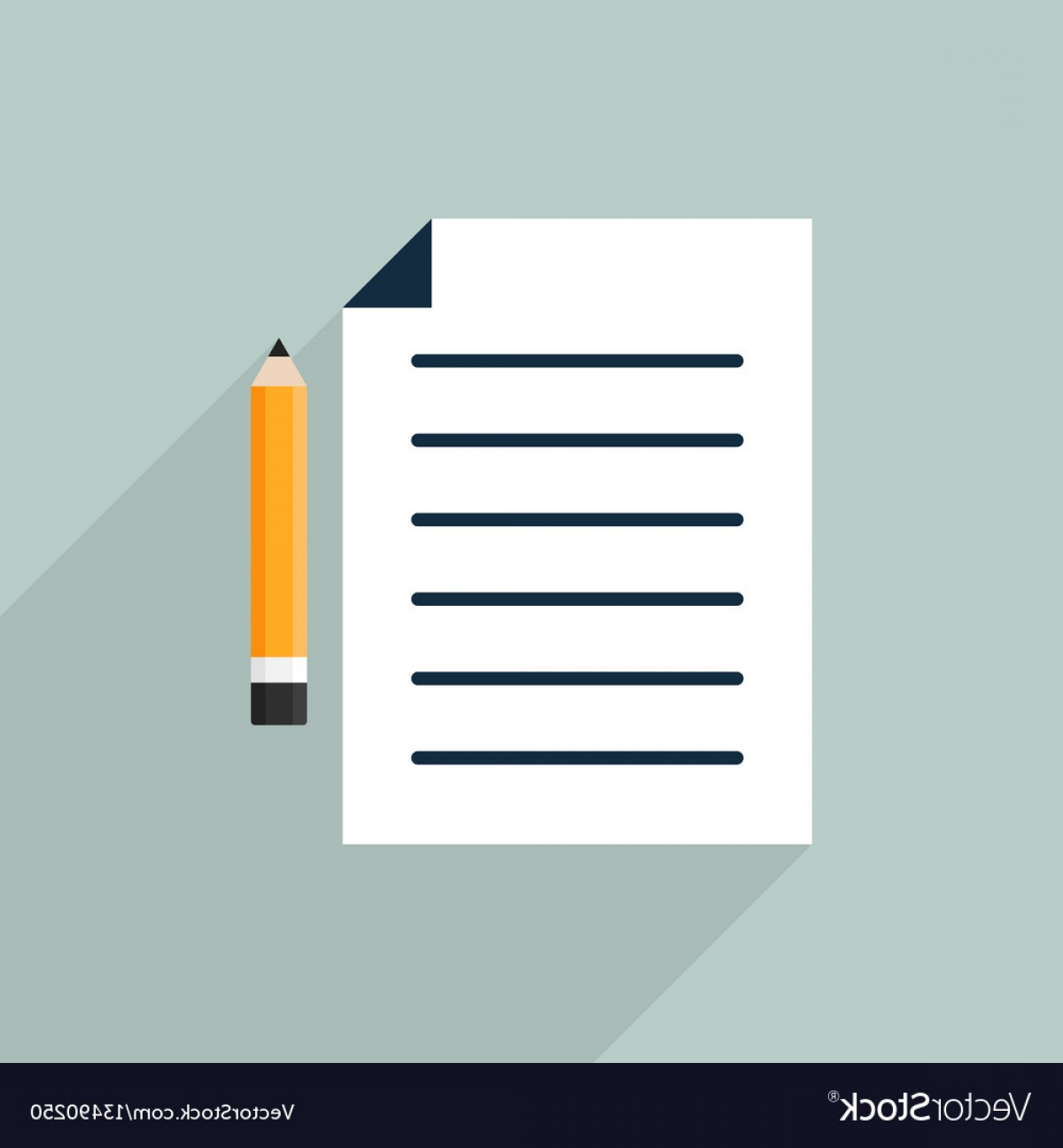 Paper And Pencil Icon Vector: Paper And Pencil Icon Flat Design Vector