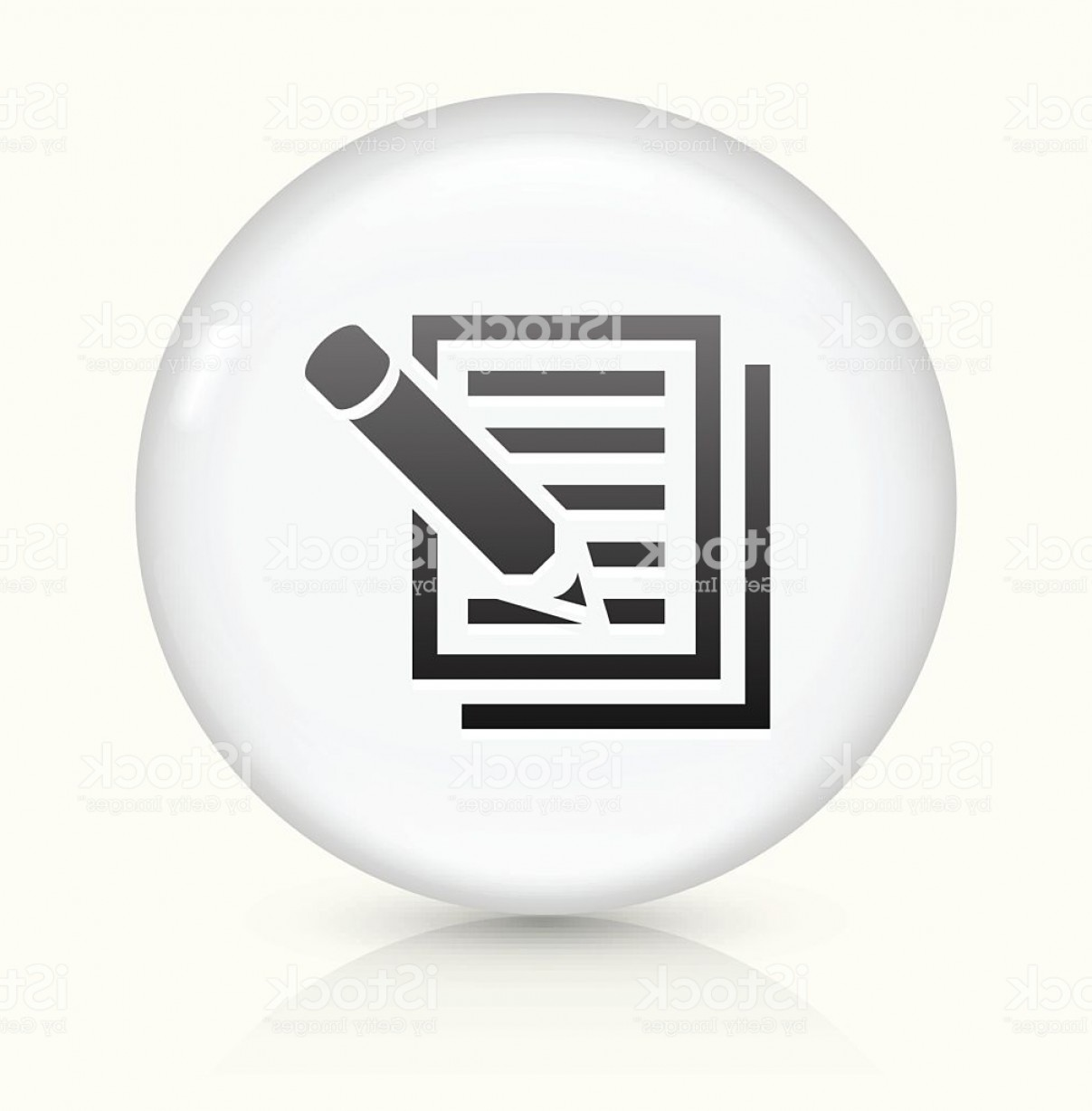Paper And Pencil Icon Vector: Paper And Pencil Icon On White Round Vector Button Gm