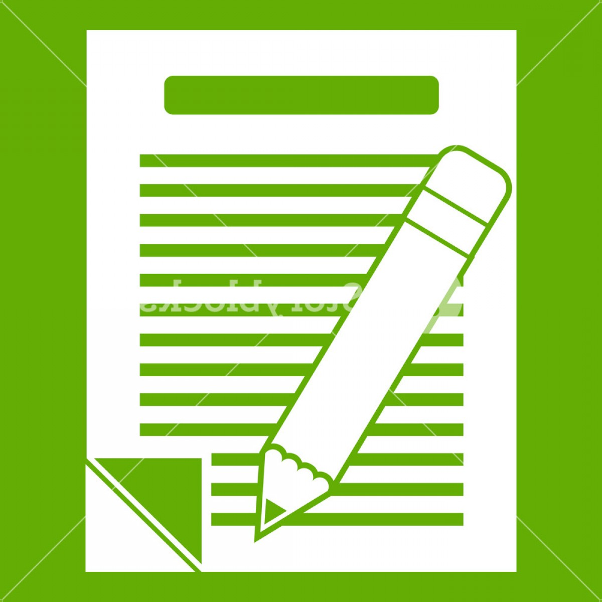 Paper And Pencil Icon Vector: Paper And Pencil Icon White Isolated On Green Background Vector Illustration Smwjtfechqjosyydc
