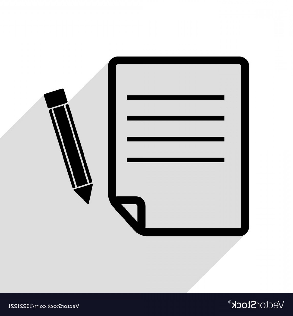 Paper And Pencil Icon Vector: Paper And Pencil Sign Black Icon With Flat Style Vector
