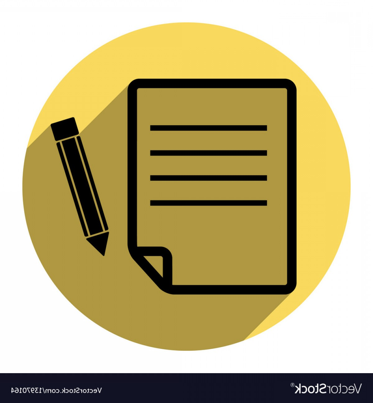 Paper And Pencil Icon Vector: Paper And Pencil Sign Flat Black Icon Vector