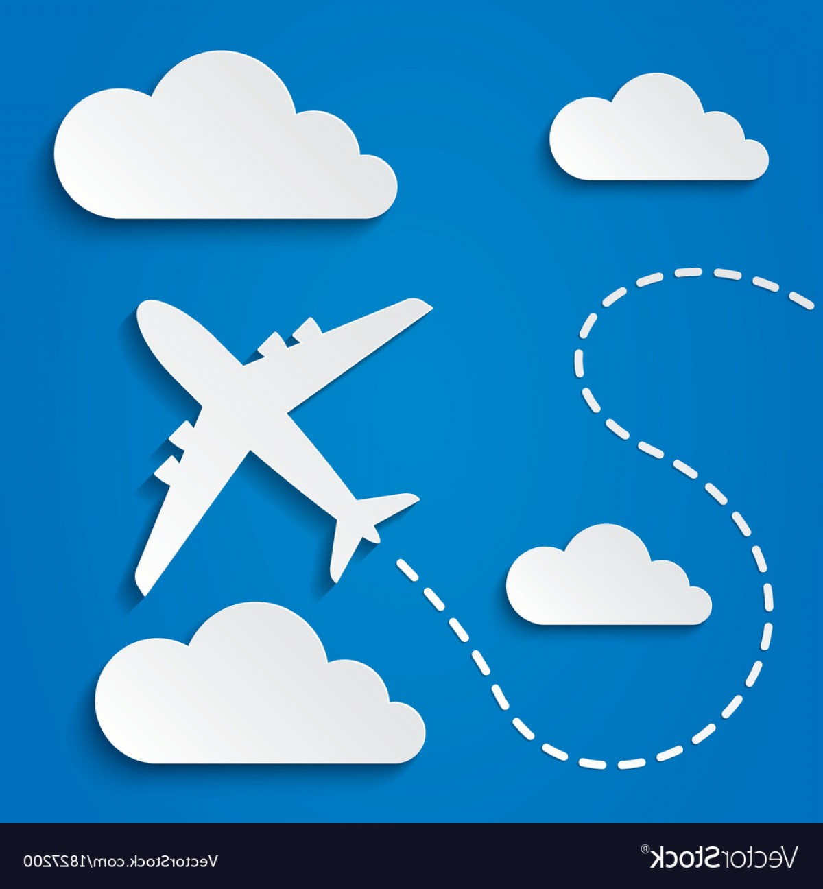 Airplane Travel Vectors: Paper Flying Plane In Clouds Travel Background Vector