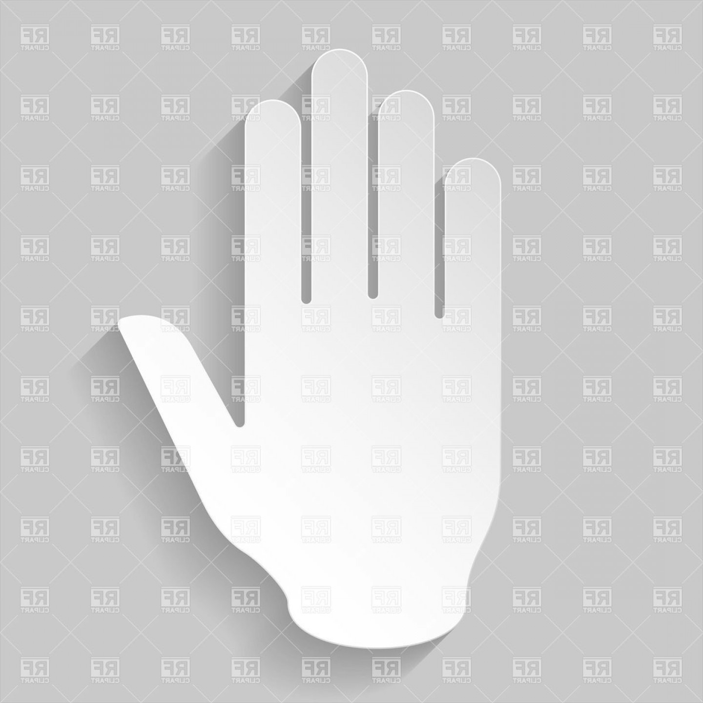 Hand Stop Vector Teal: Paper Hand As A Stop Sign Vector Clipart