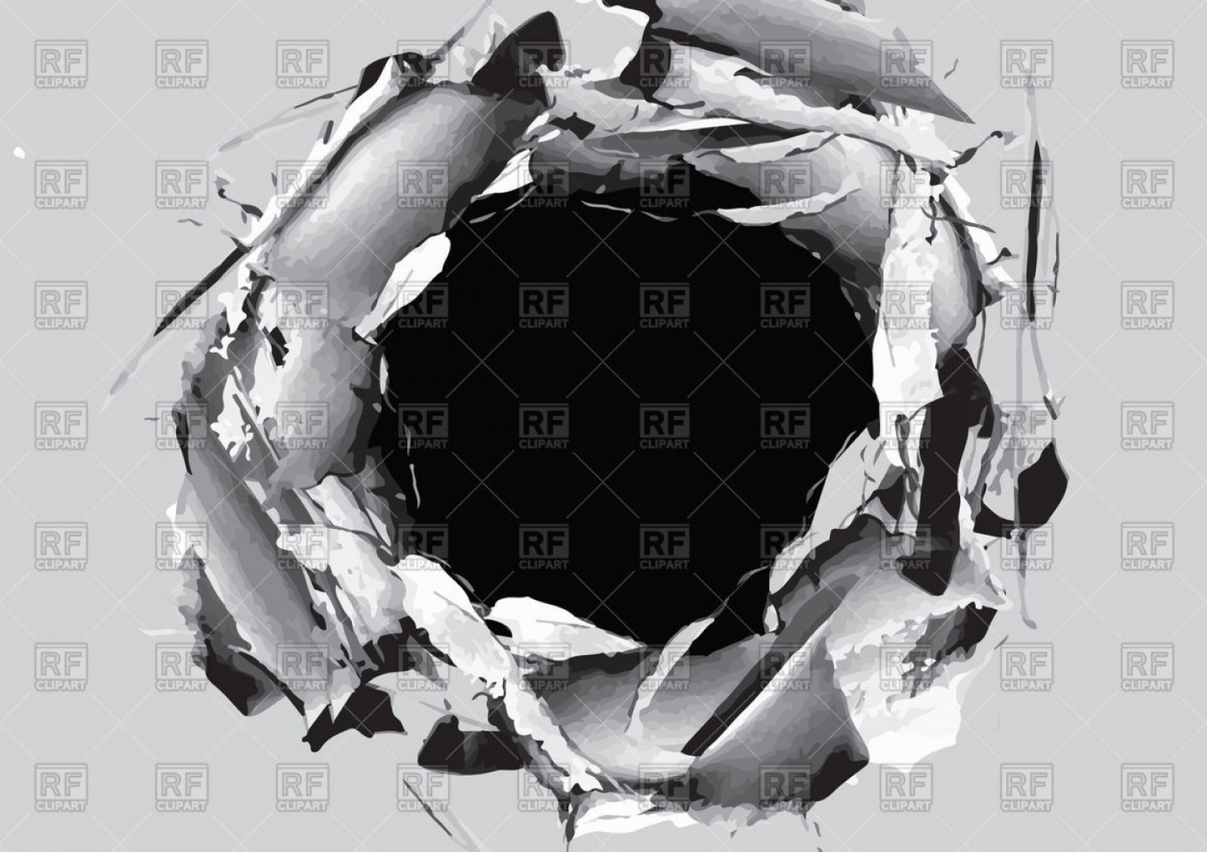 Ripped Black And White Vector: Paper Hole With Torn Vector Clipart
