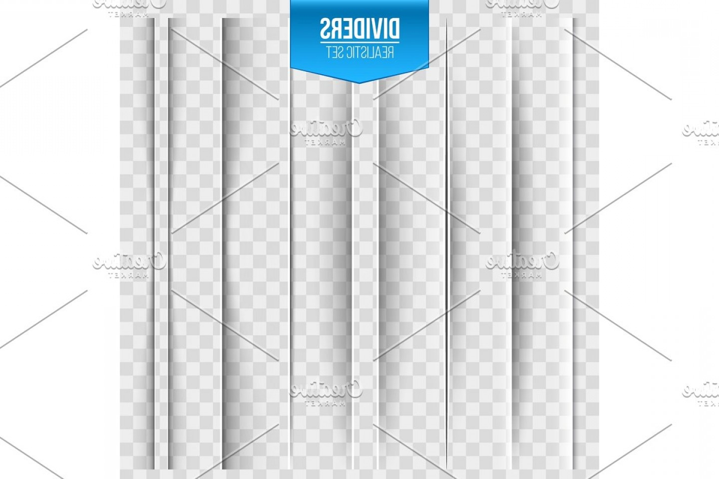 Vector Line Dividers Transparent Backgrounds: Paper Shadow Dividers On Background