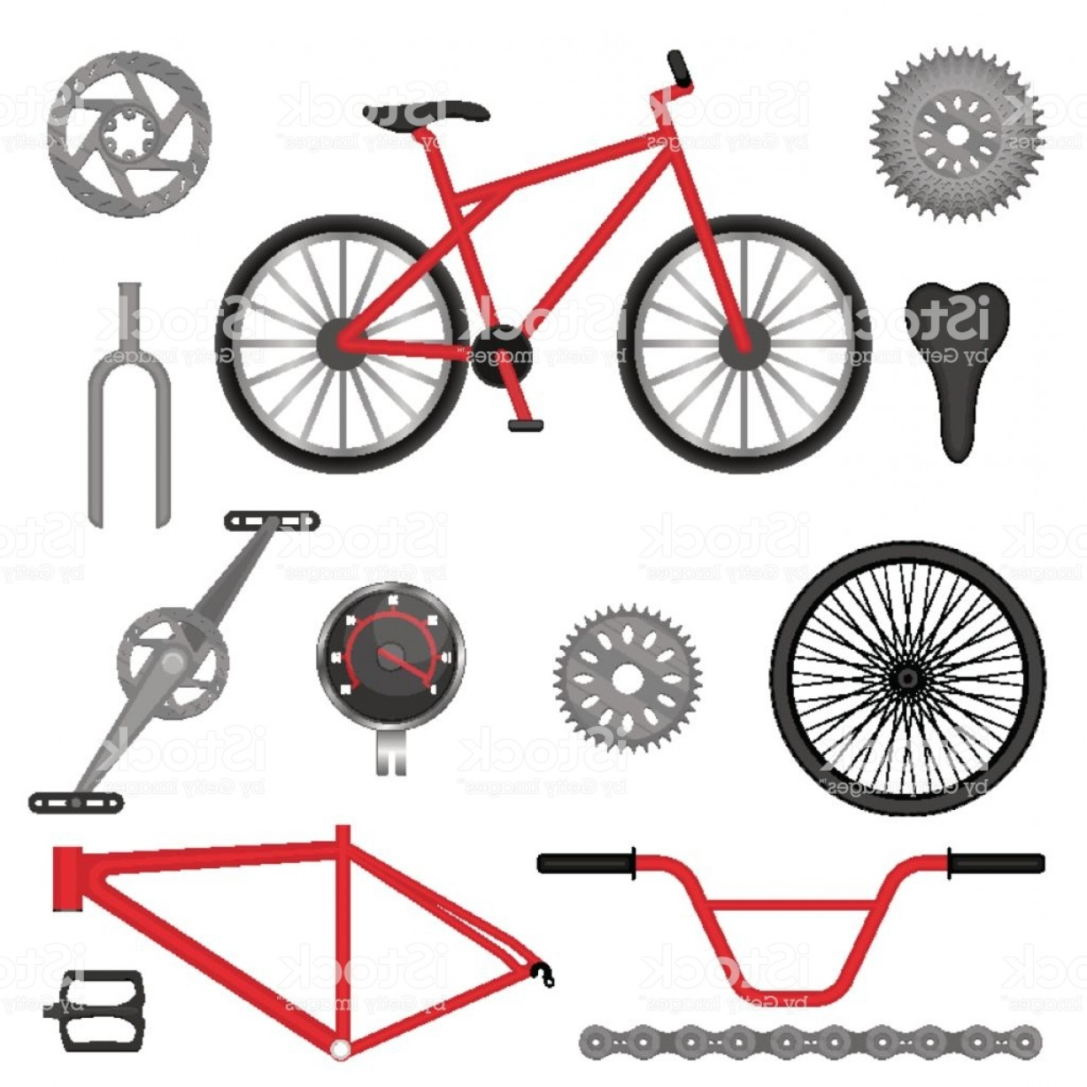 BMX Bike Tire Vector: Parts Of Bmx Bike Off Road Sport Bicycle Used For Racing Gm
