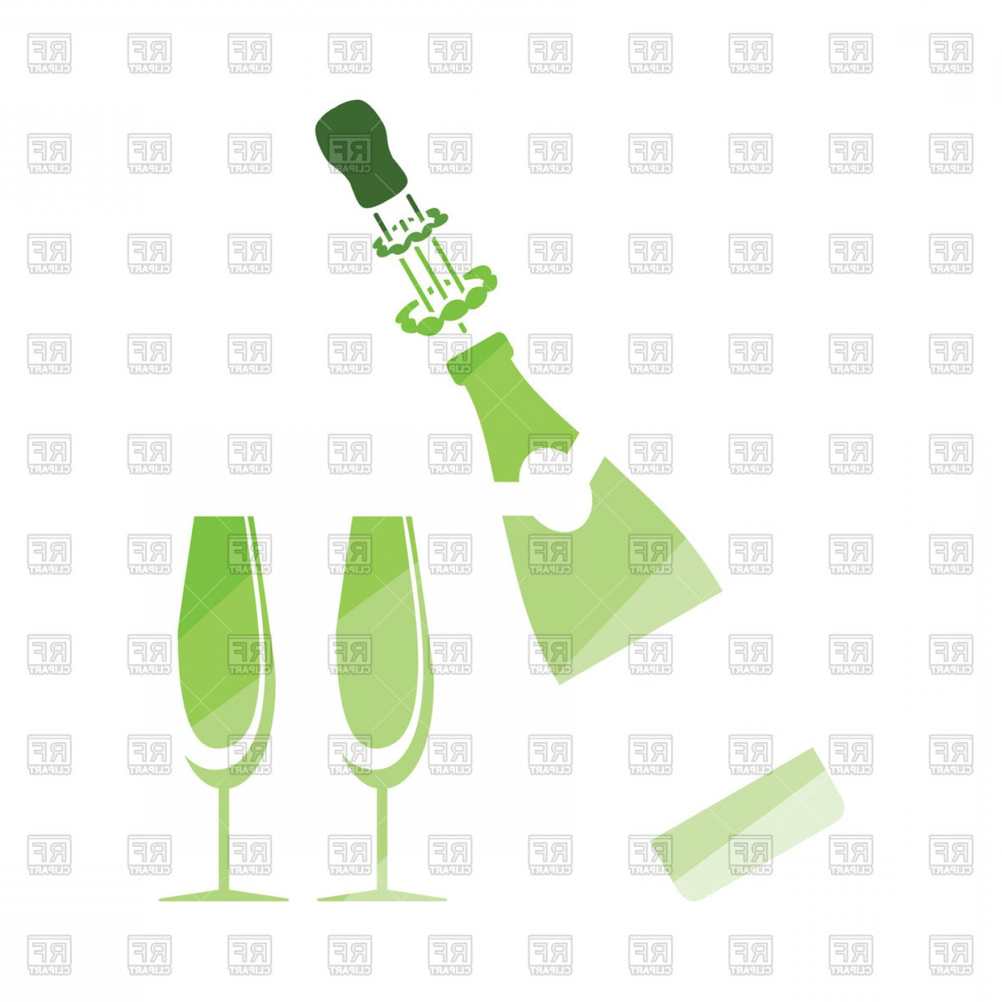 Vector Champagne Party: Party Champagne And Glass Icon Vector Clipart