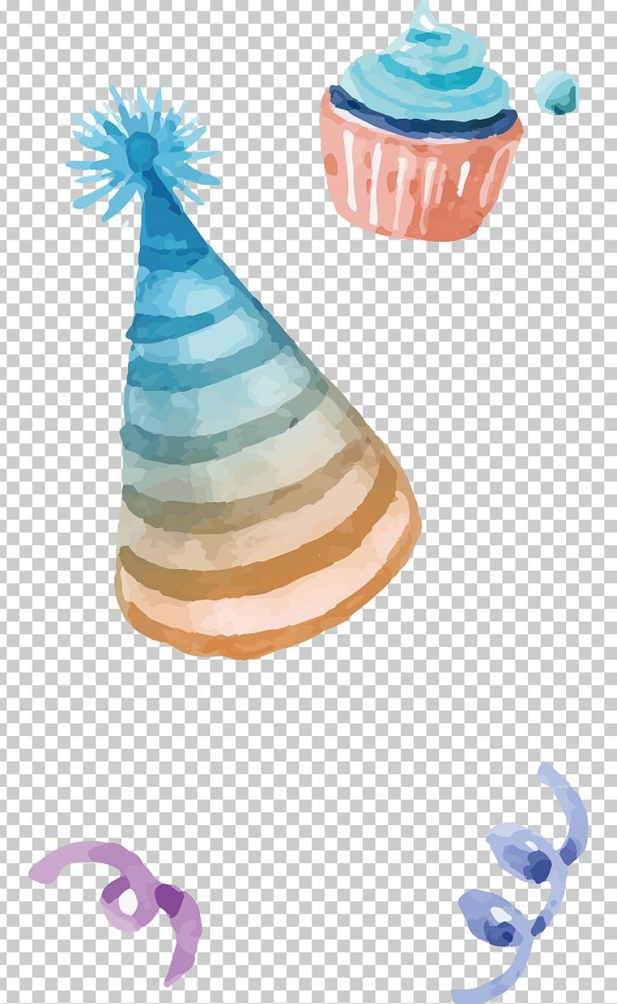 Teal Birthday Hat Vector: Party Hat Birthday Watercolor Painting Png